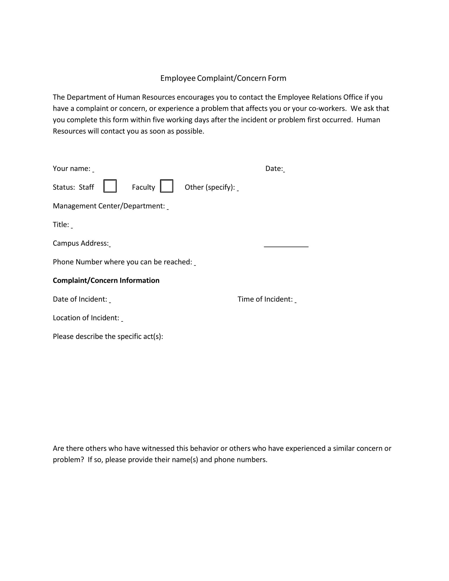 business employee complaint concern form 1
