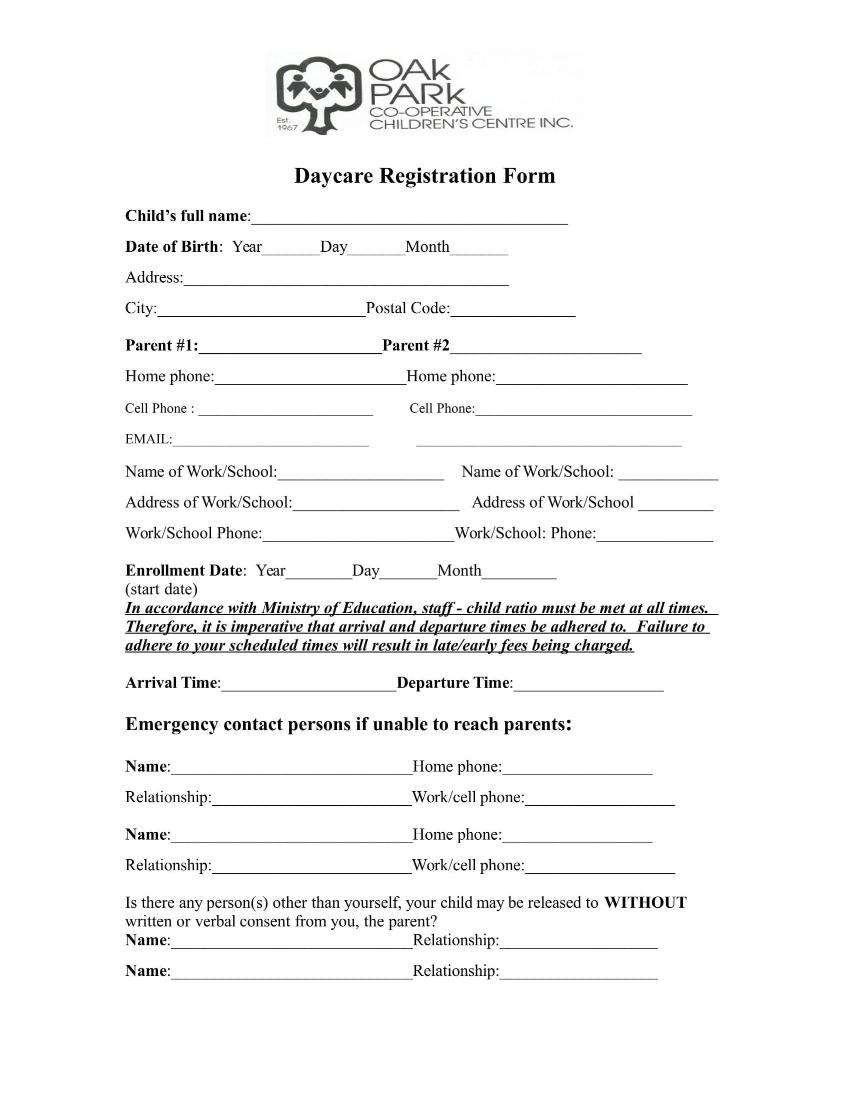child daycare registration form in doc 1