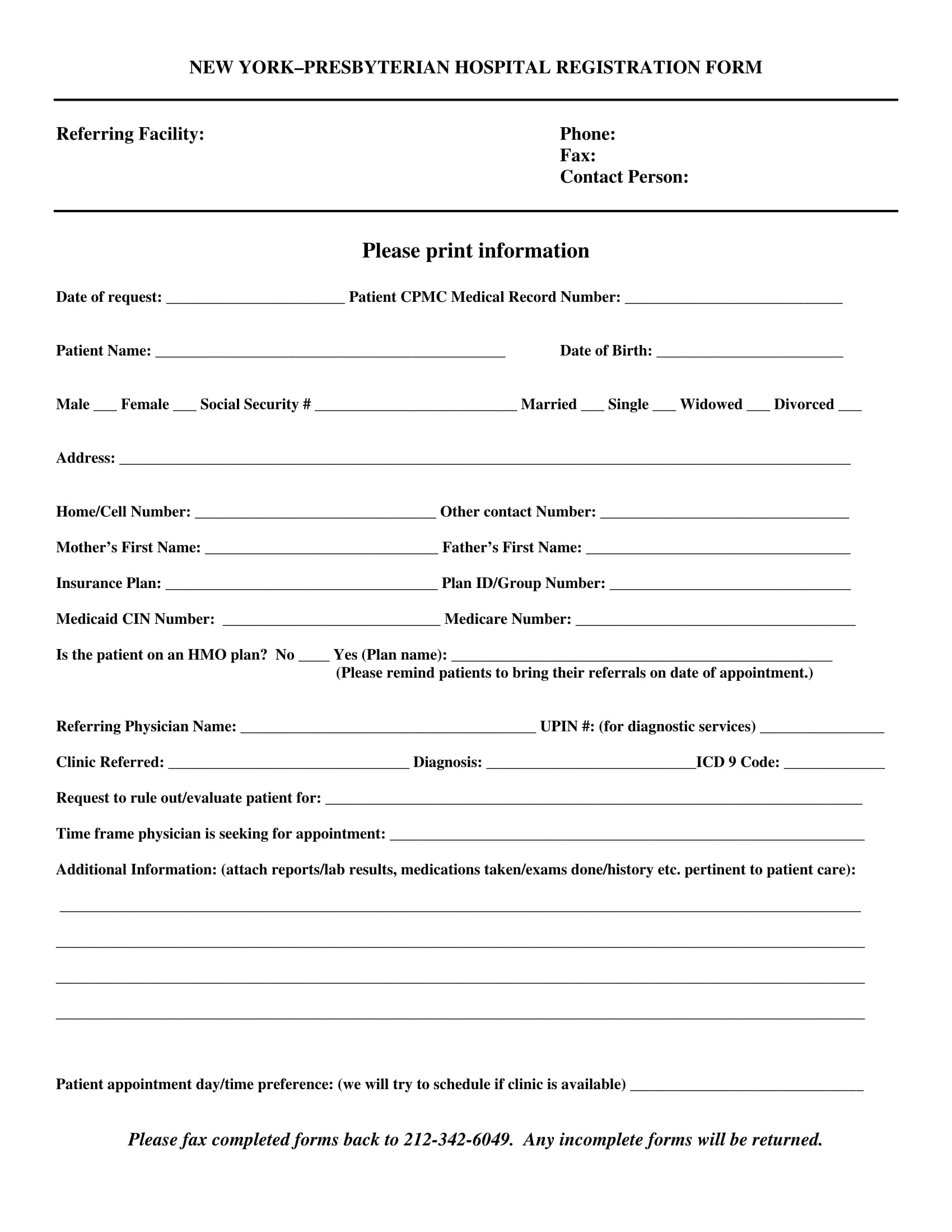 church hospital registration form 1