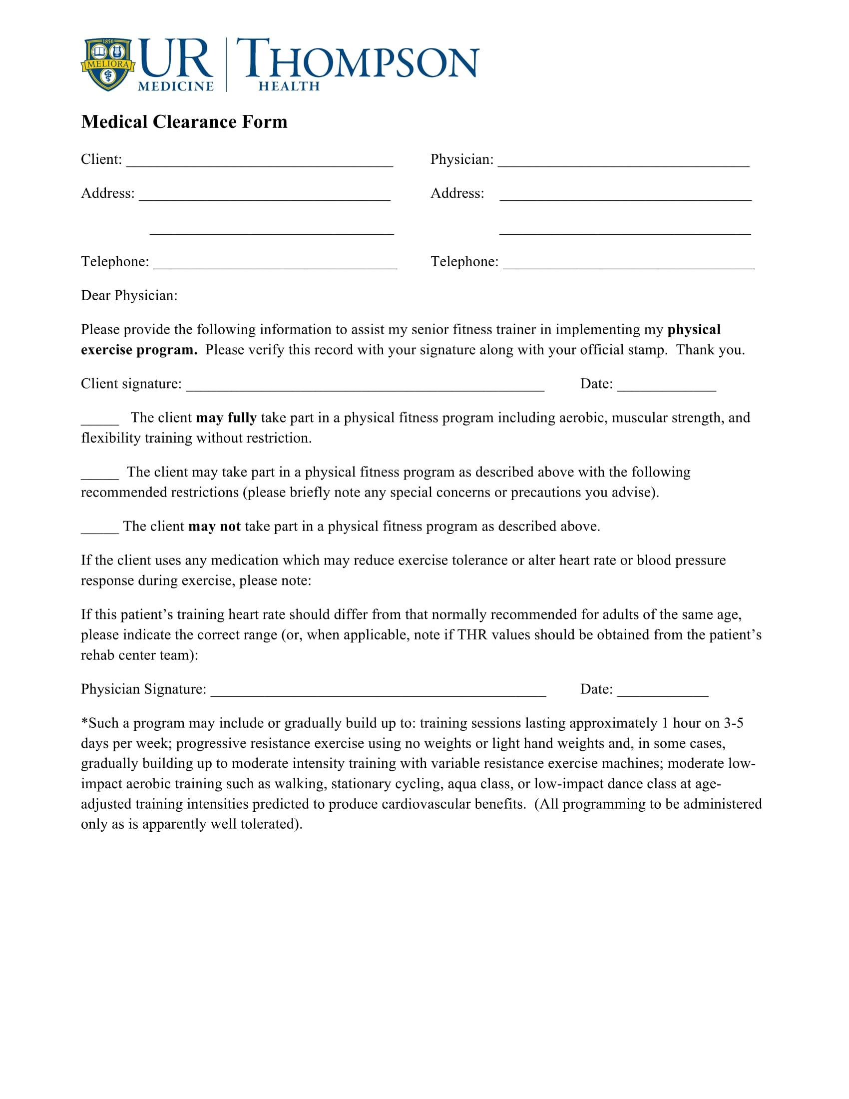 client medical clearance form 11