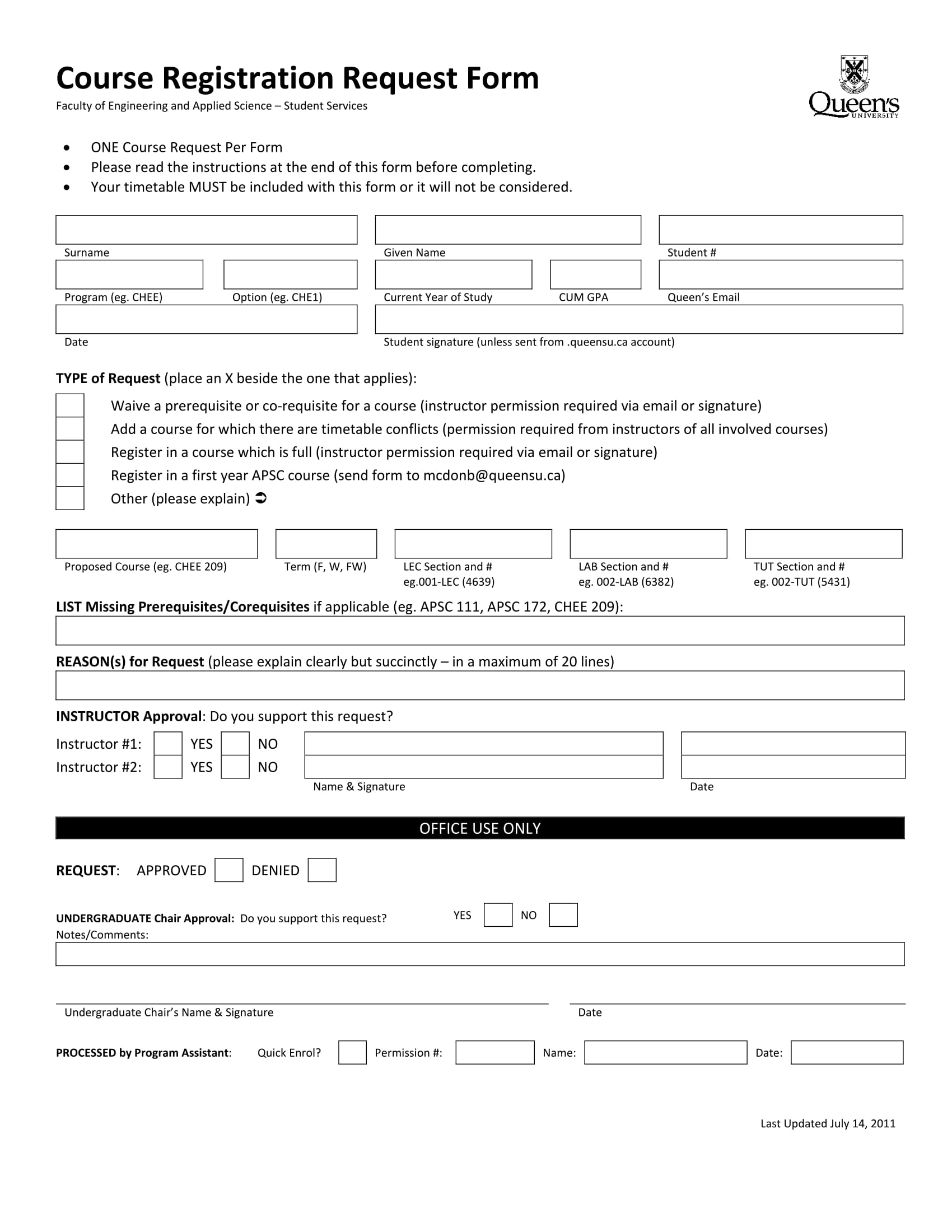 college course registration request form 1