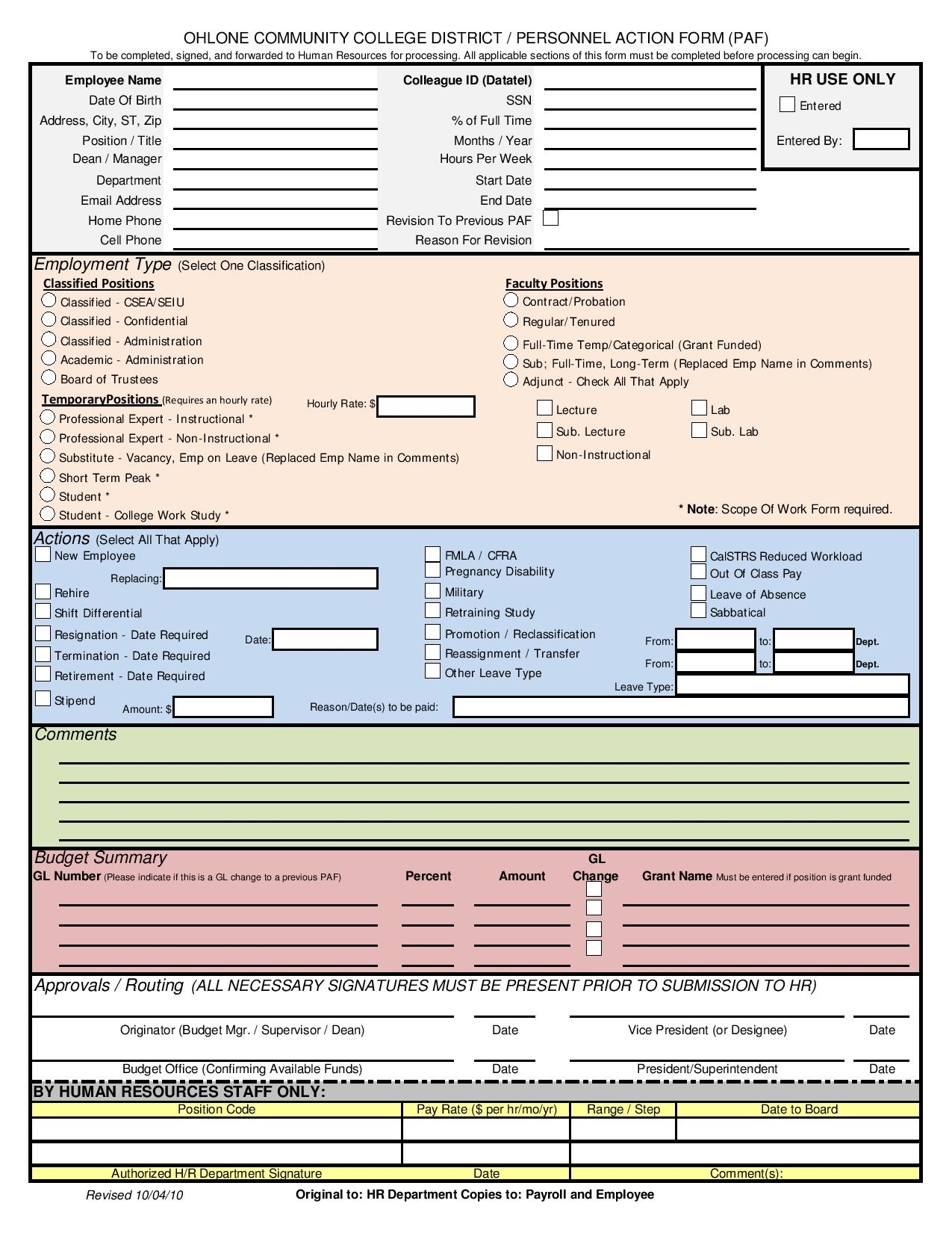 college district personnel action form page 001