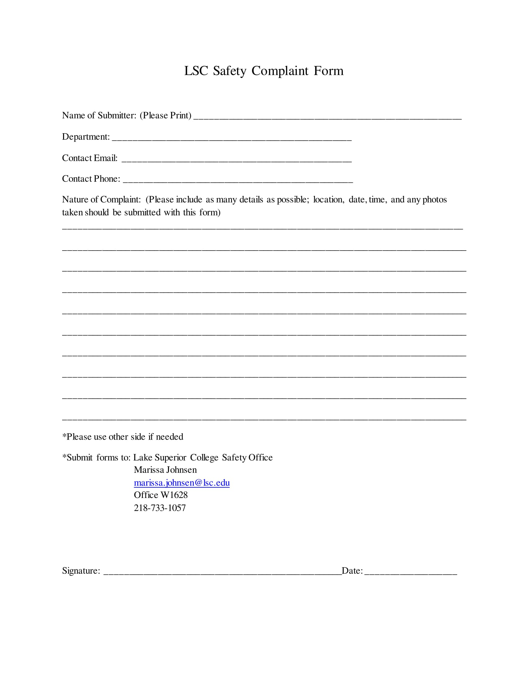 college safety complaint form 1