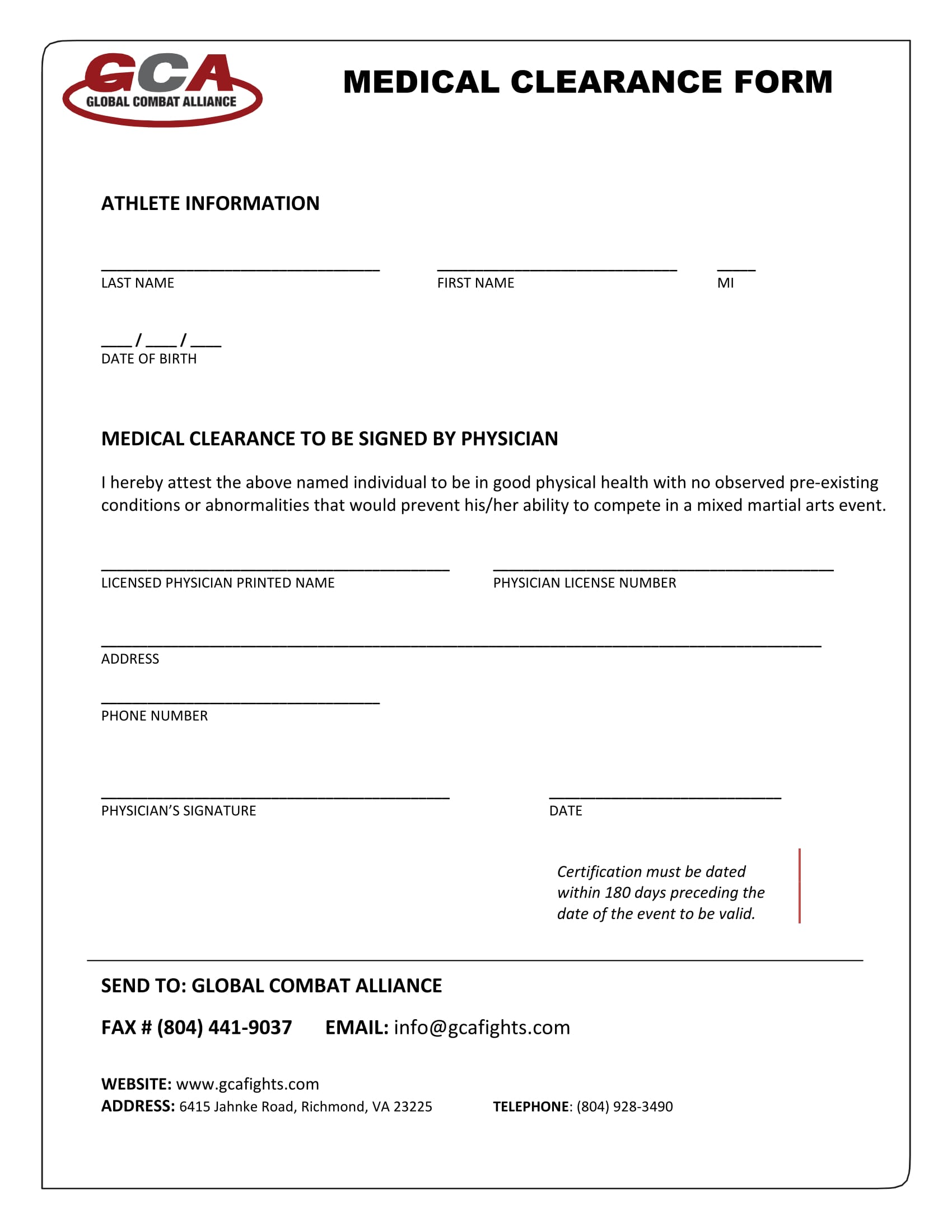 combat athlete medical clearance form 1