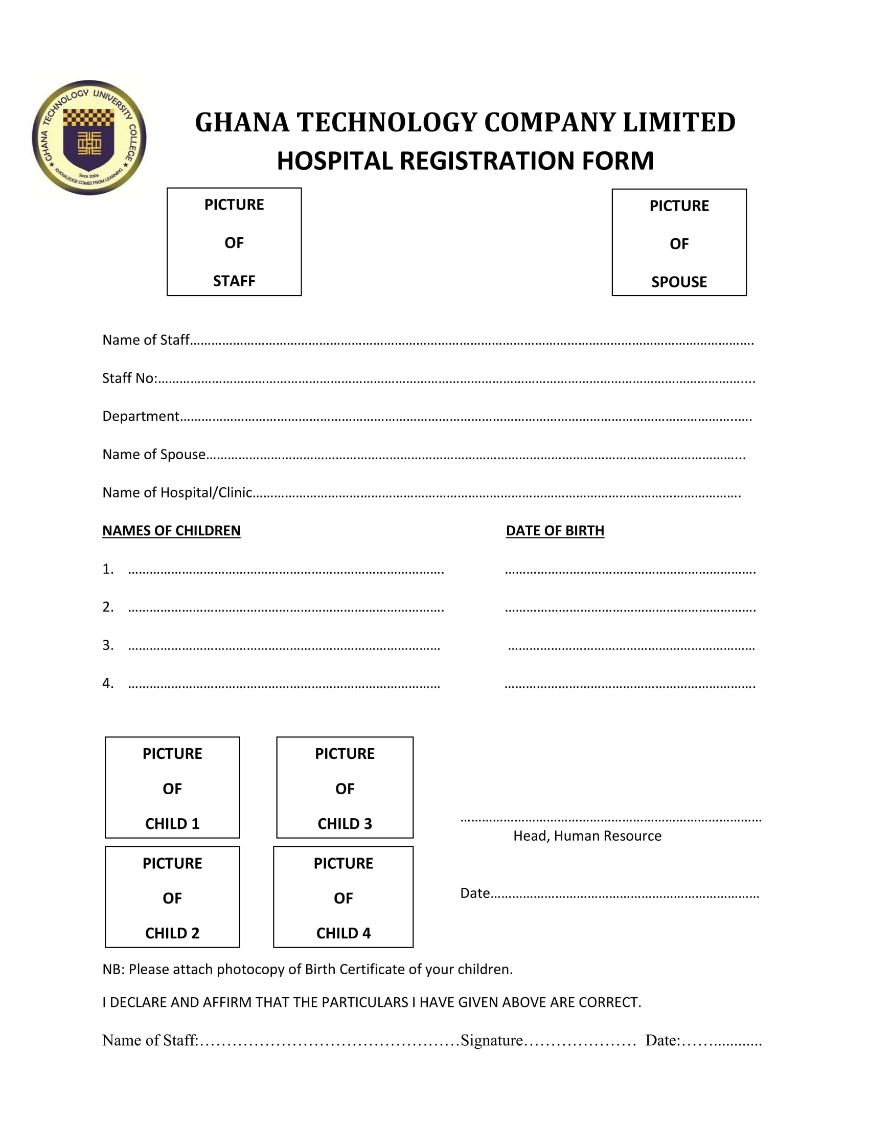 company hospital registration form 1