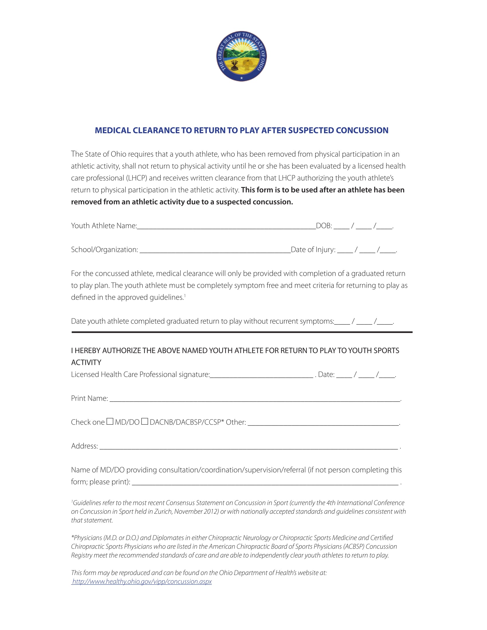 concussion medical clearance form 1