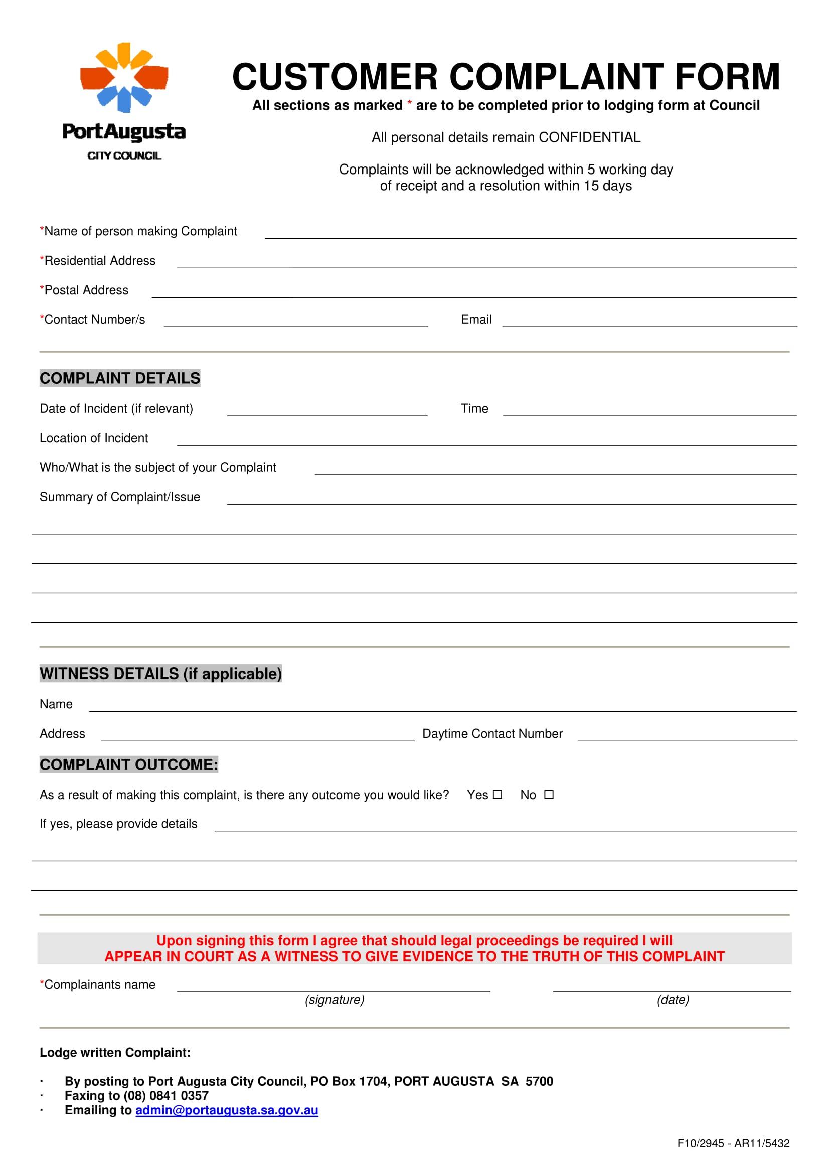 council customer complaint form 1