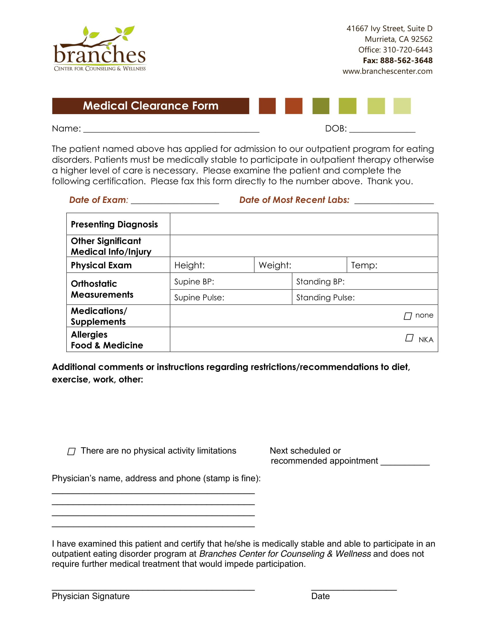 29 Medical Clearance Form Examples Counseling Medical Clearance Form 1 Medical  Clearance Form Examplehtml