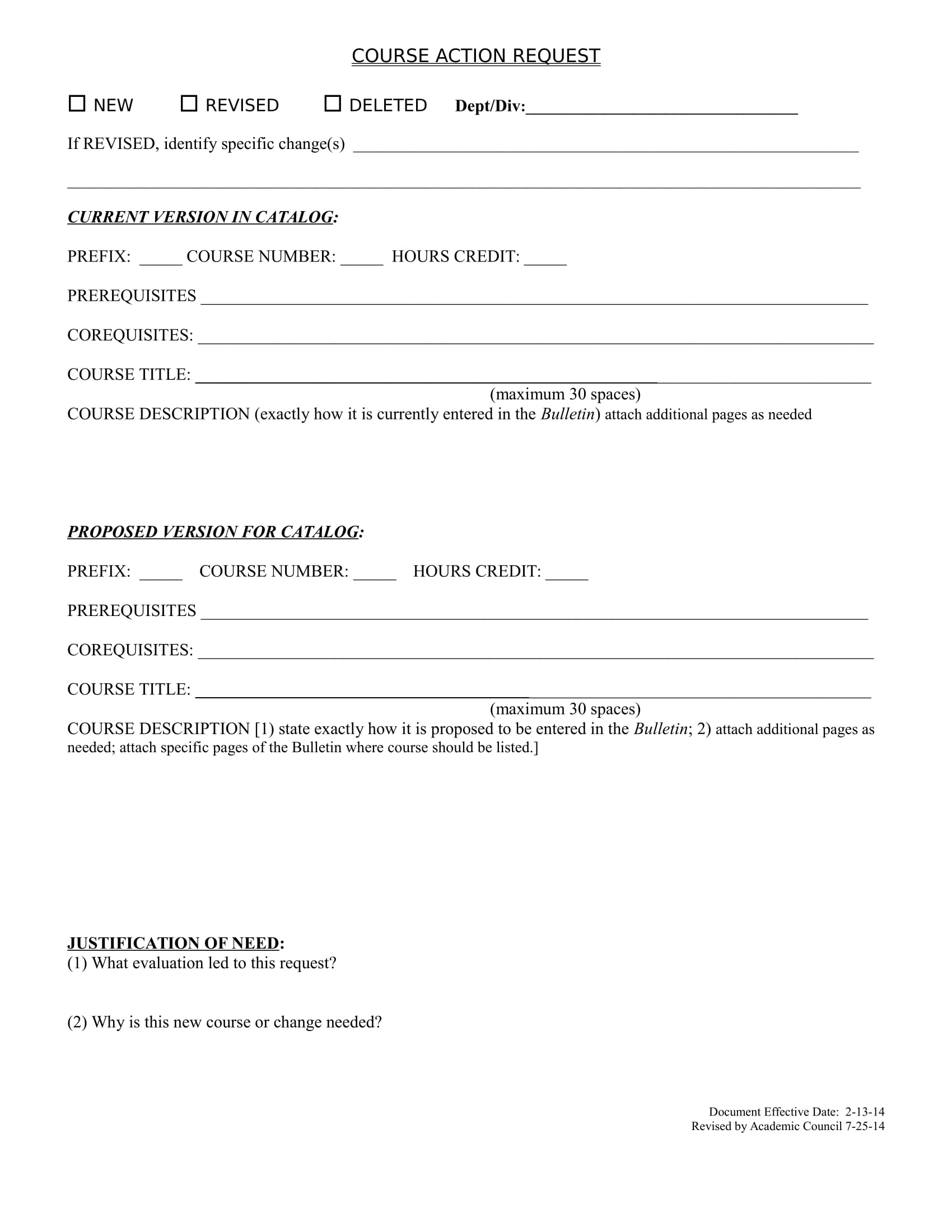 course action request form 1