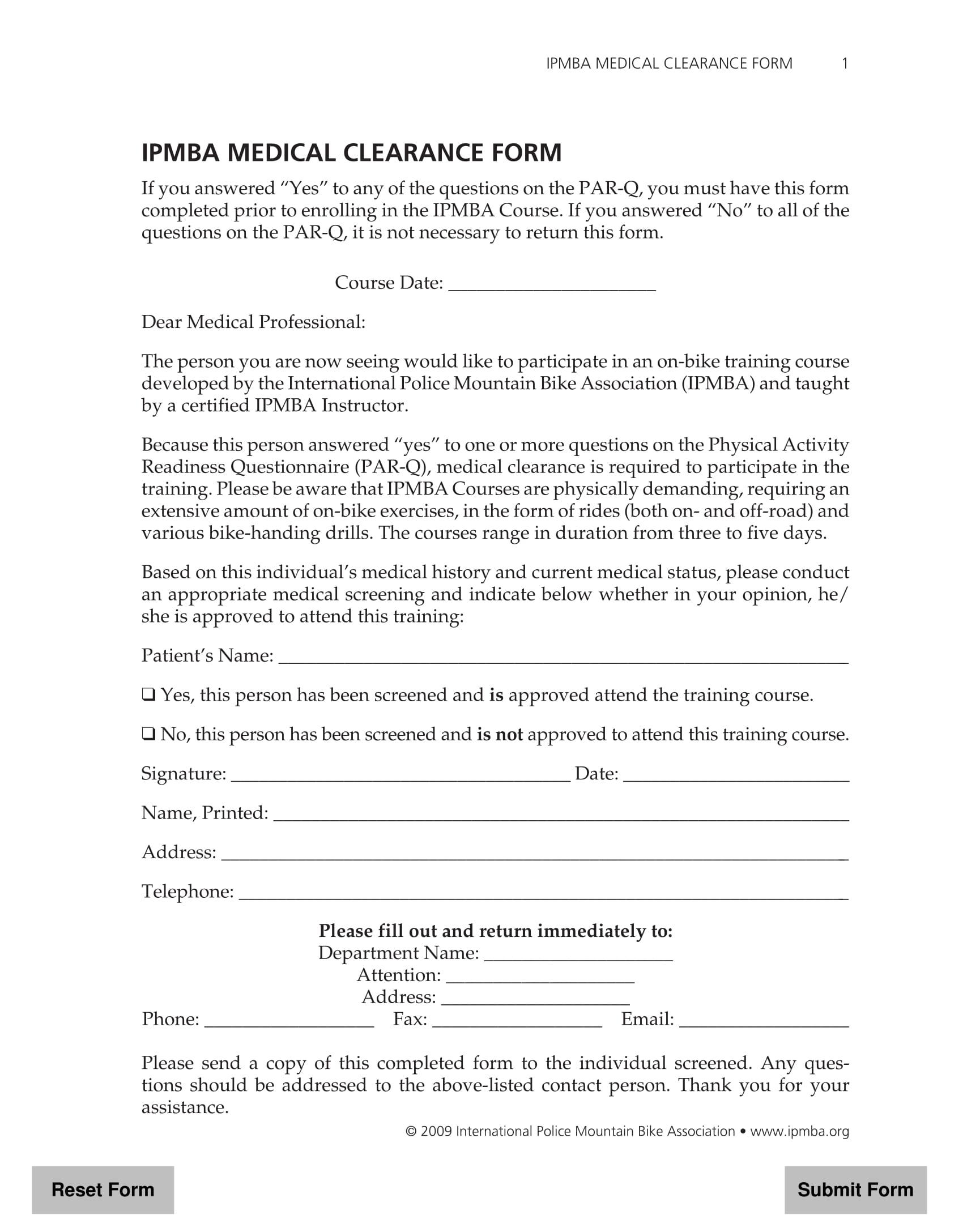 course medical clearance form 3