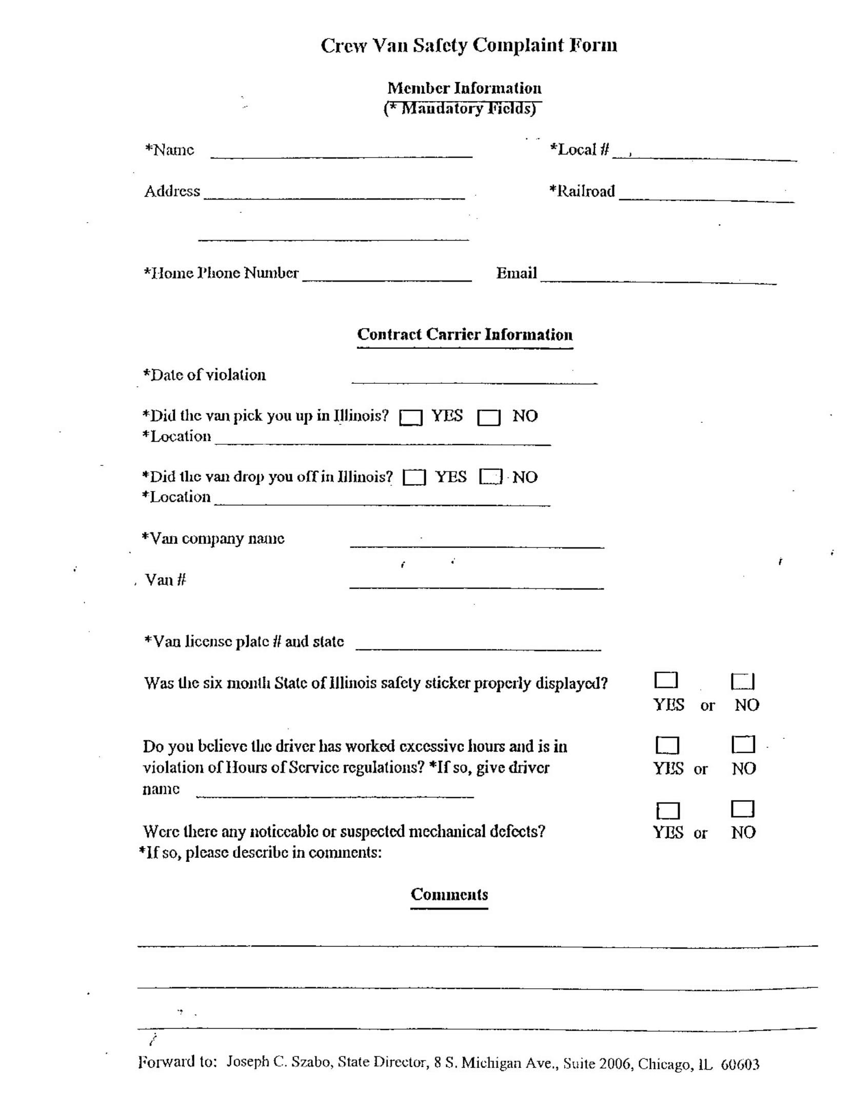 crew van safety complaint form 1