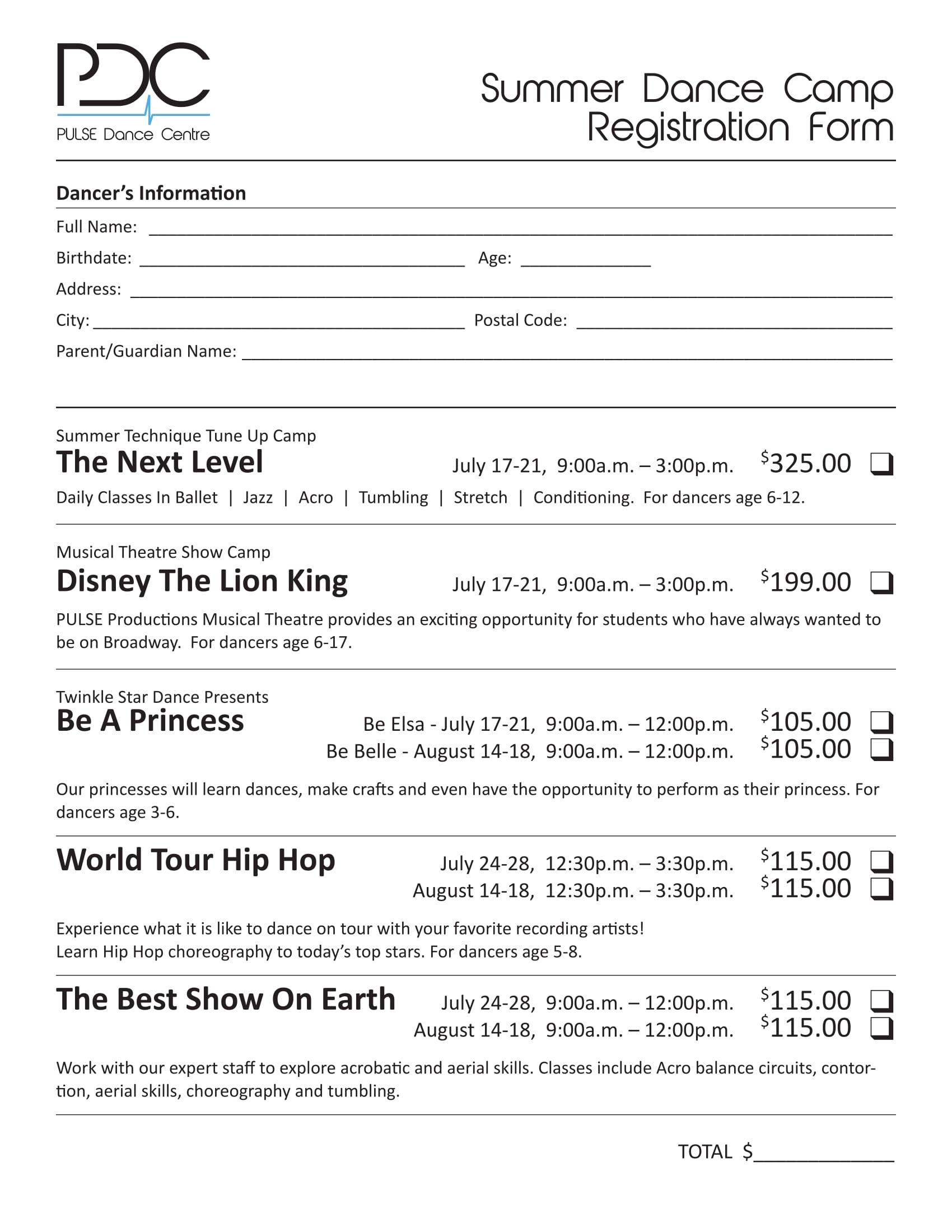 dance camp registration form 1