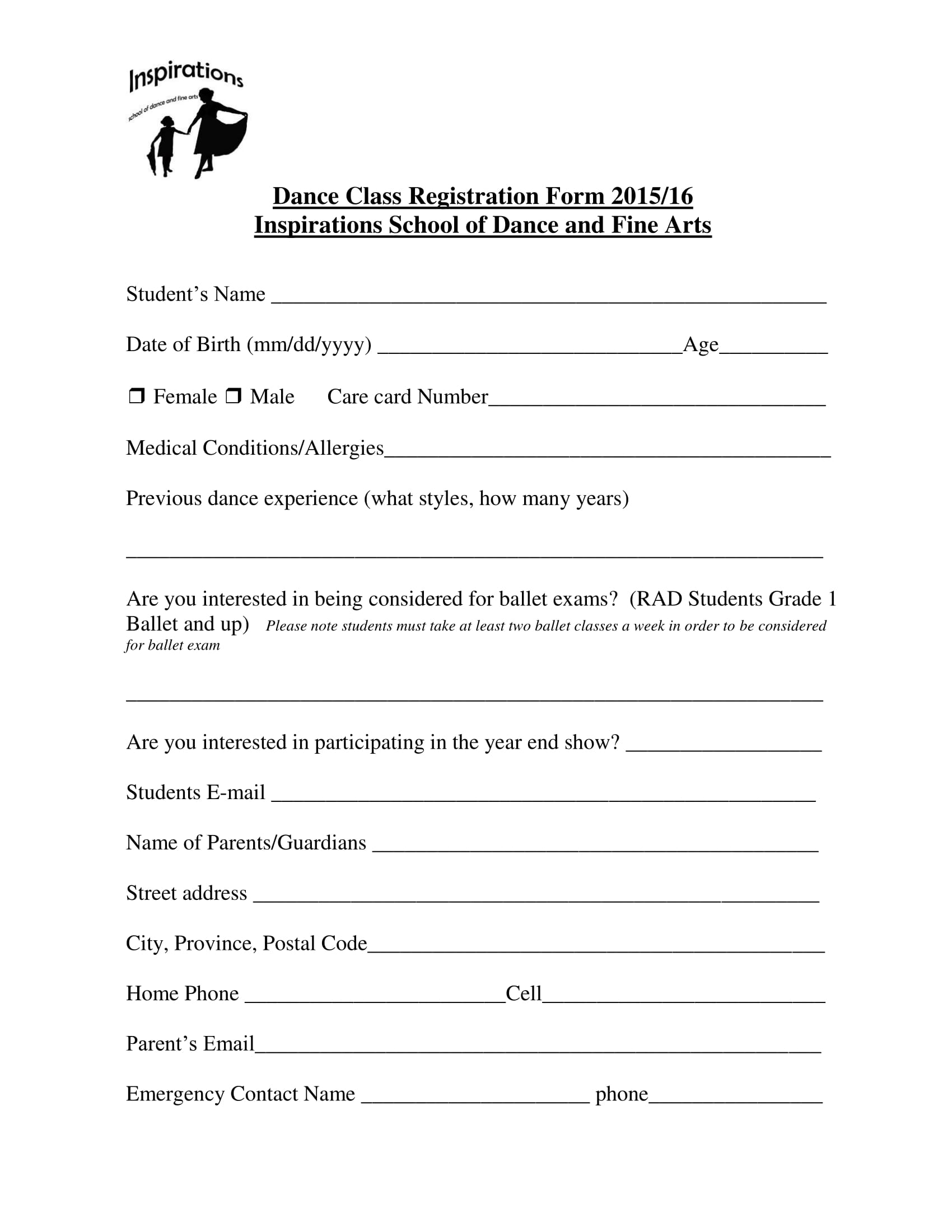 10 dance registration form samples for Dance contract template
