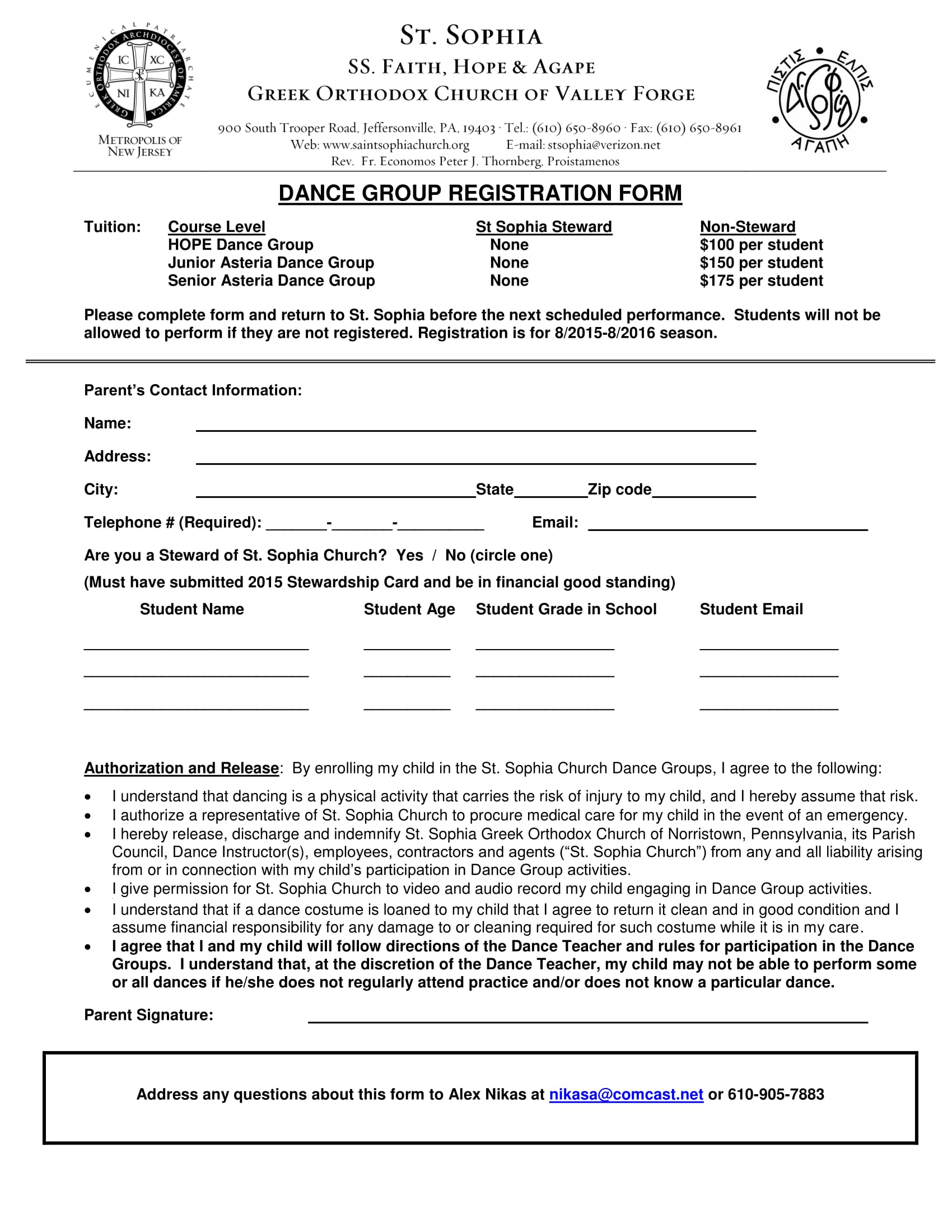 Free 10 Dance Registration Form Samples Pdf