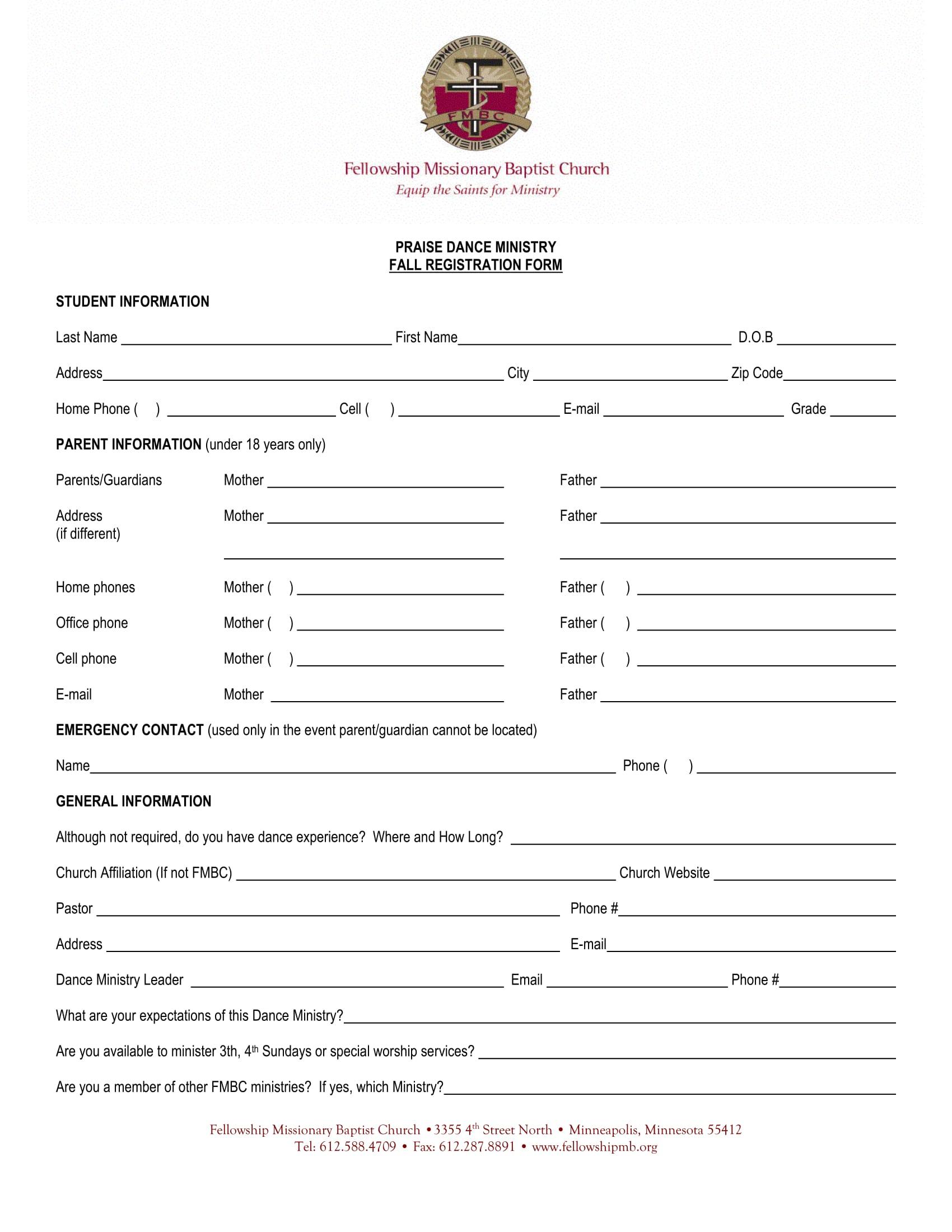 dance ministry registration form 1