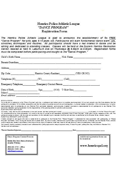 dance program registration form