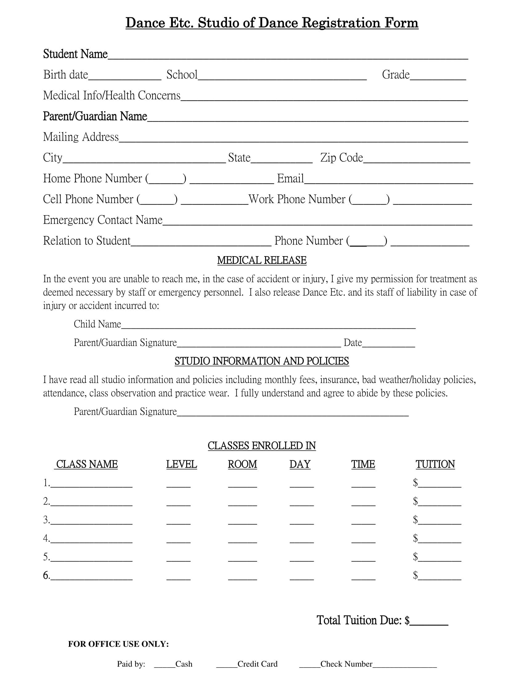 dance studio registration form 1