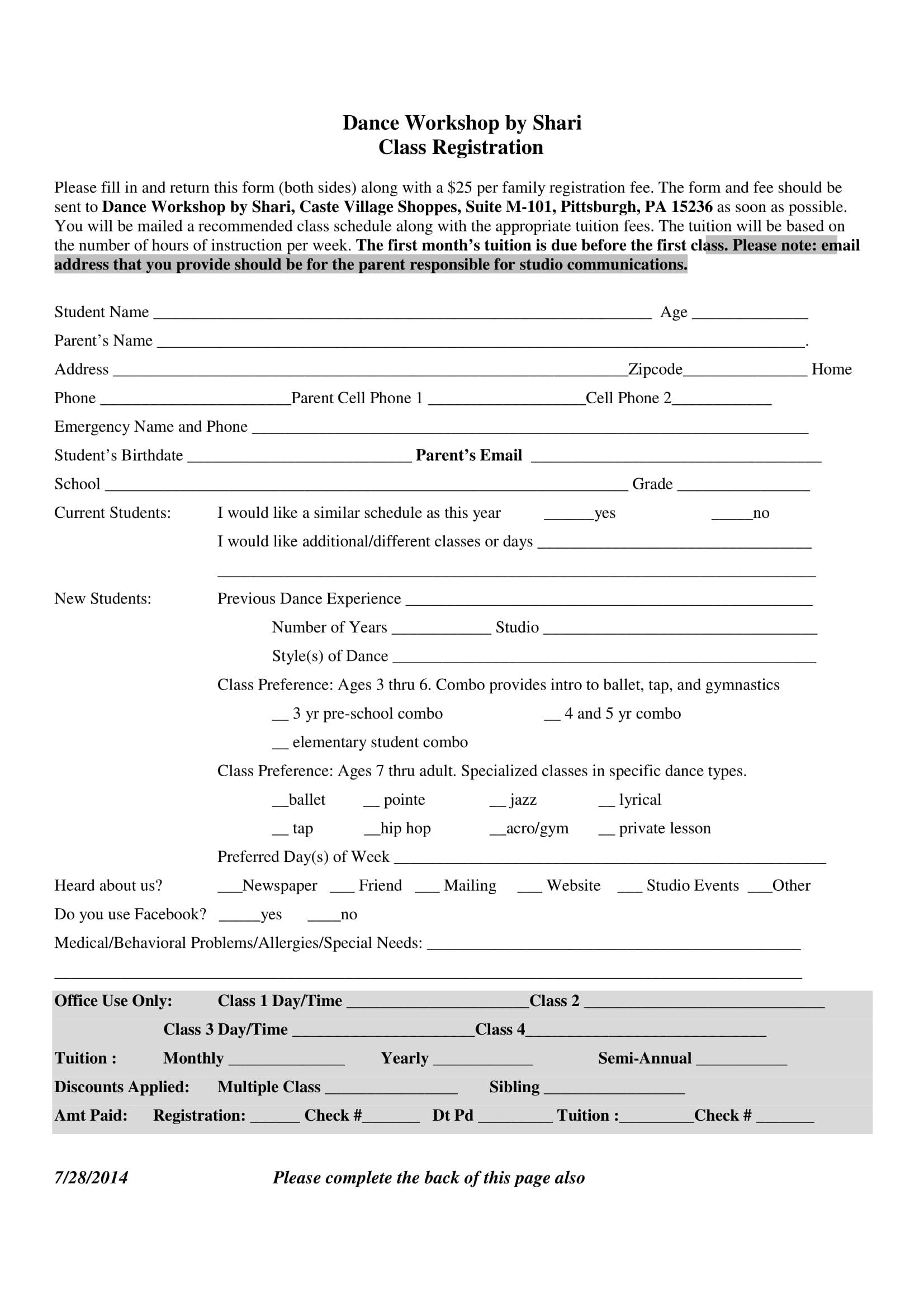 dance workshop registration form 1