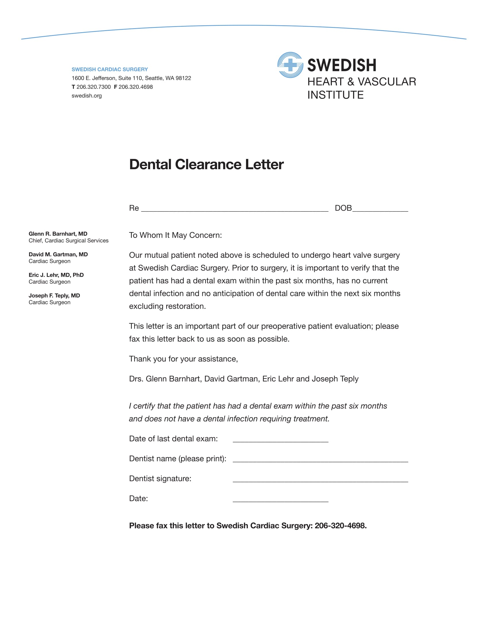 dental clearance letter for surgery sample 14  Dental Medical Clearance Forms - Free Word, PDF Format Download