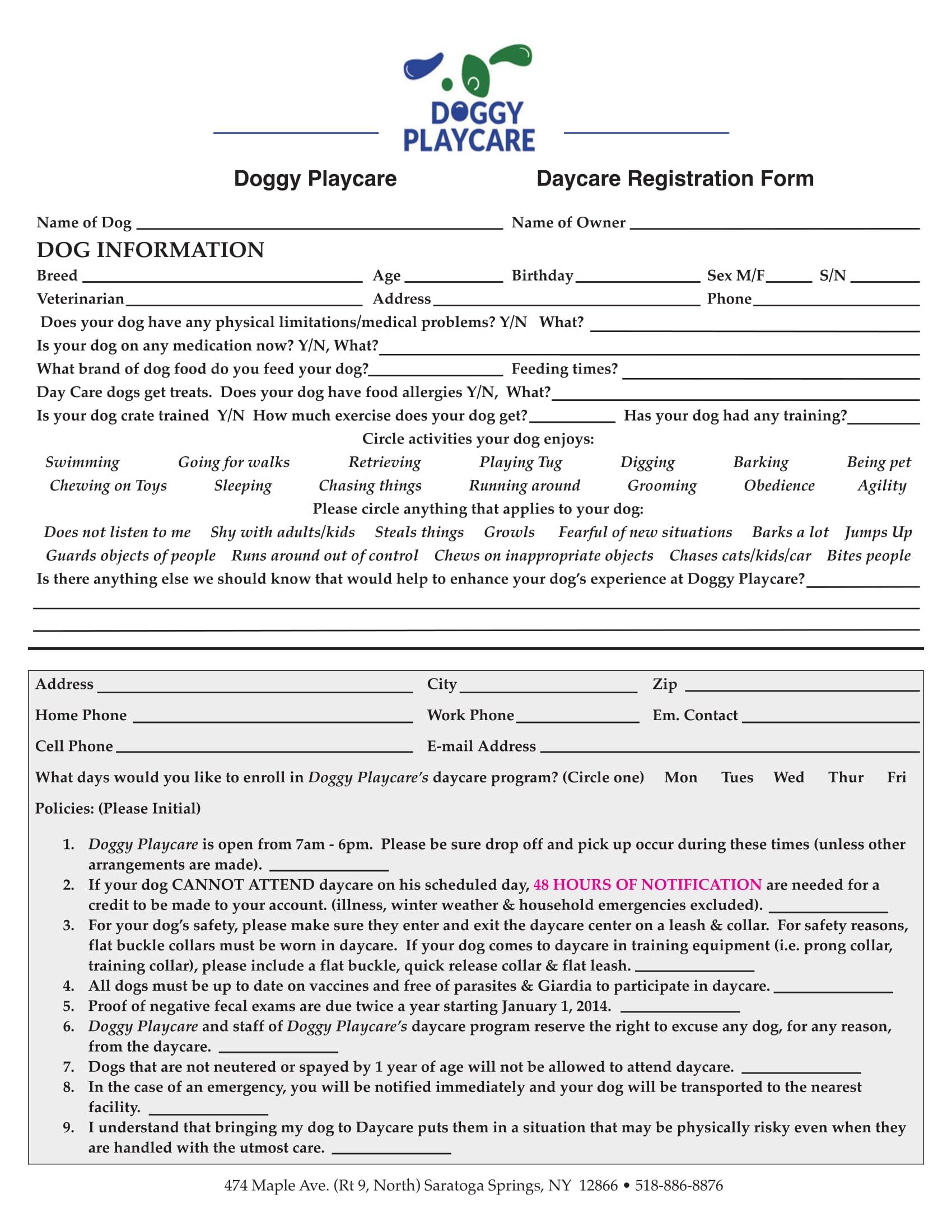 dog daycare registration form 1
