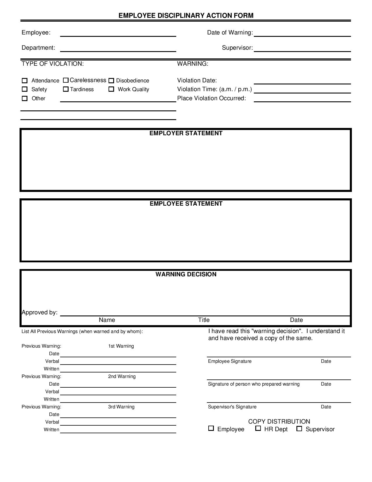 employee disciplinary action form page 0011