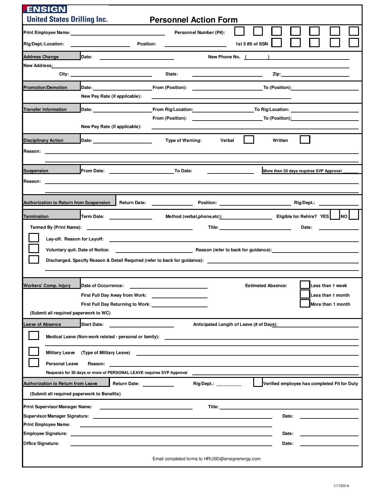 employee personnel action form page 0011