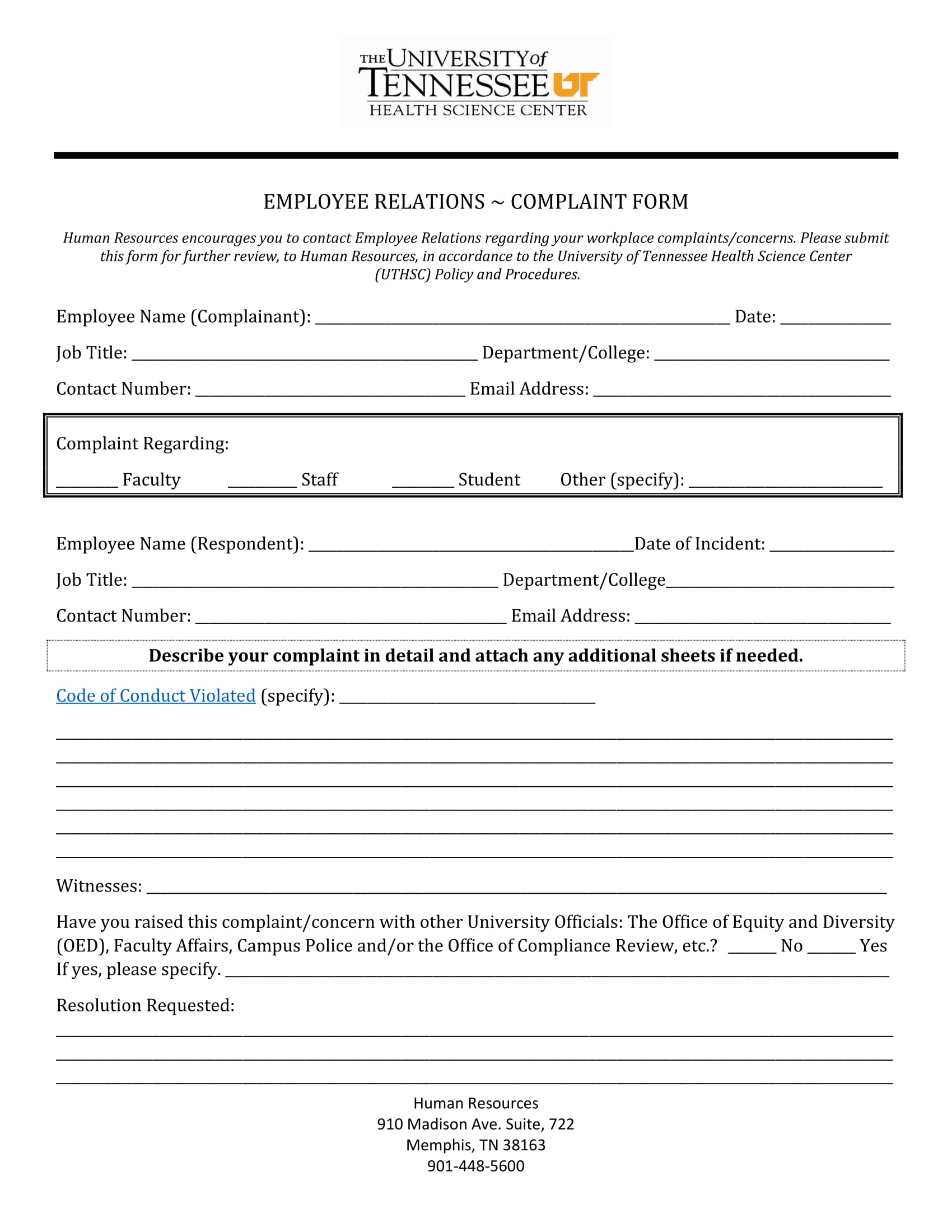 employee relations complaint form 1