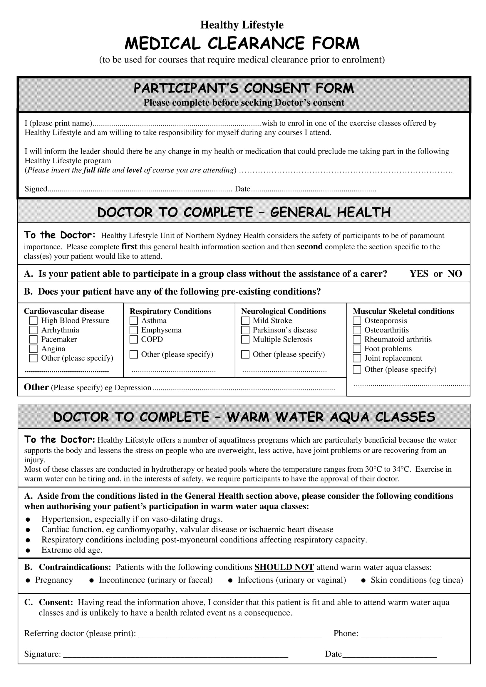 enrolment medical clearance form 1