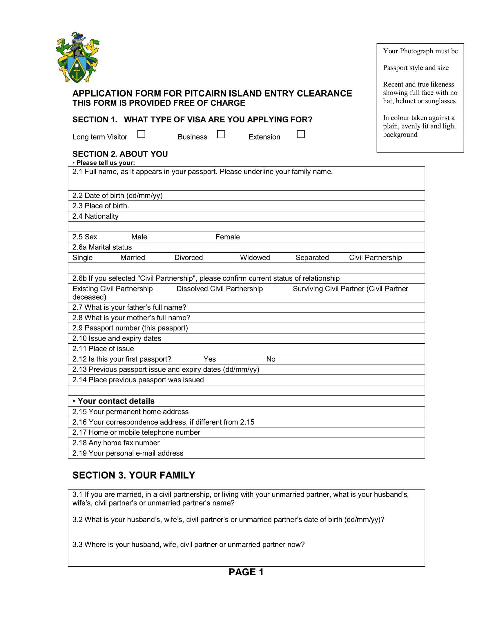 entry clearance application form 1