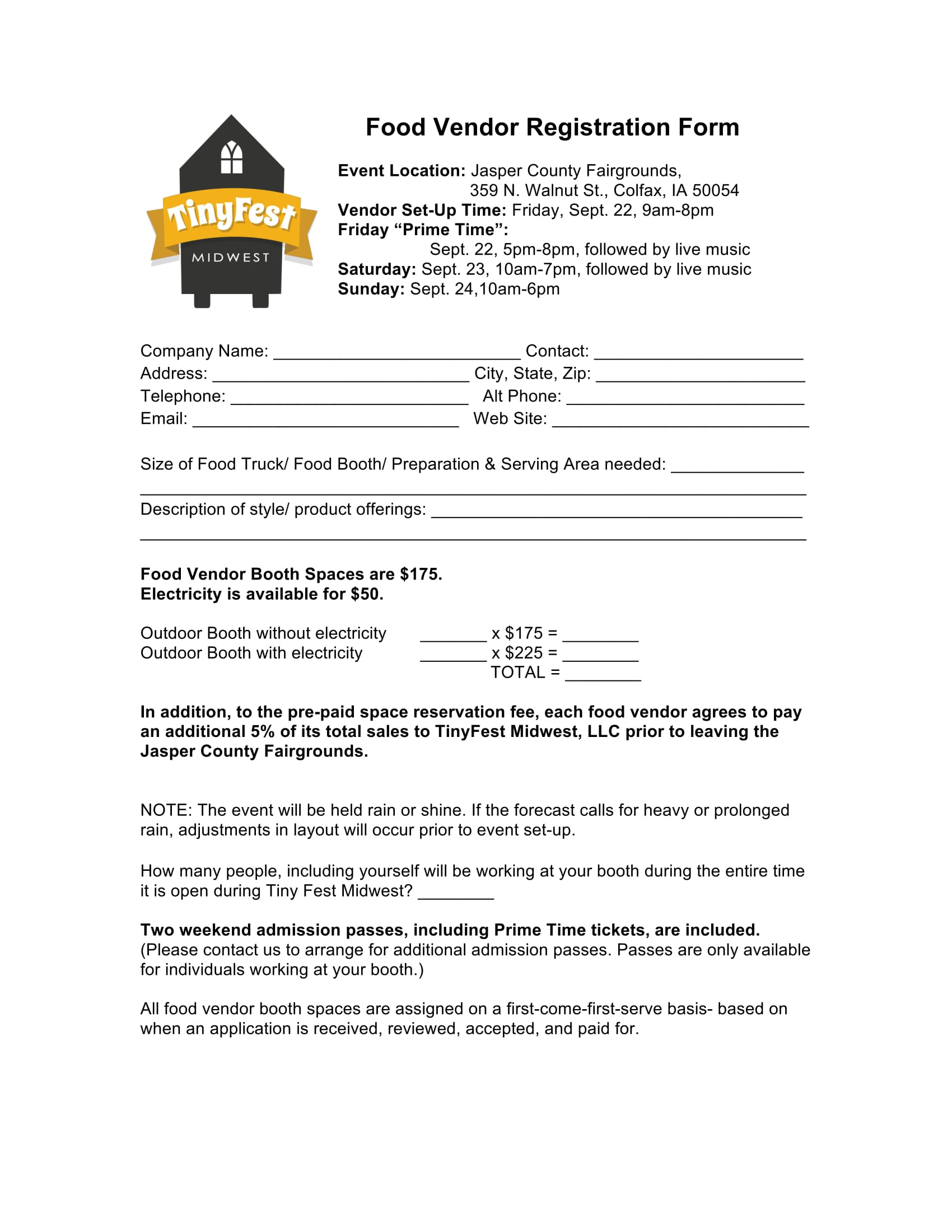 10 Event Vendor Registration Form Free Word PDF Download – Vendor Registration Form