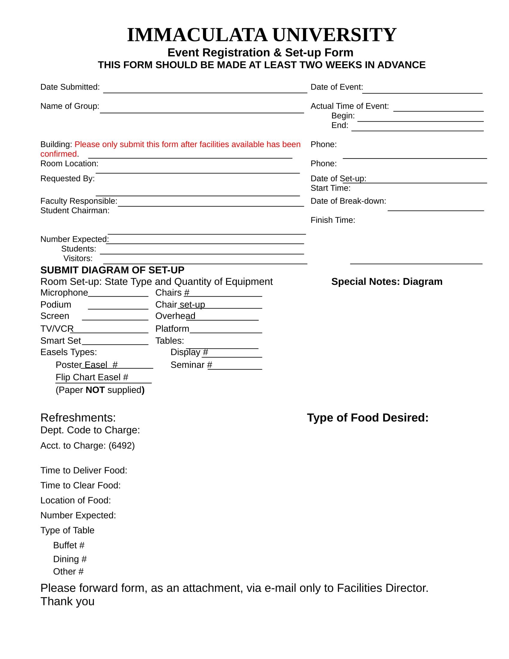 event registration set up form 1