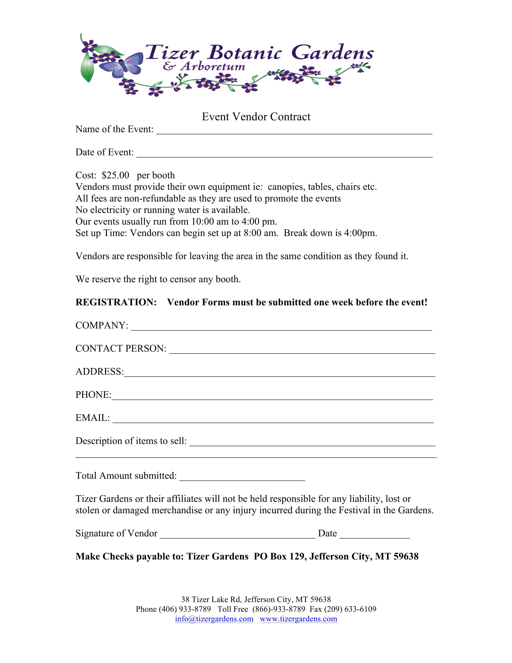 Vendor Form For An Event Demirediffusion