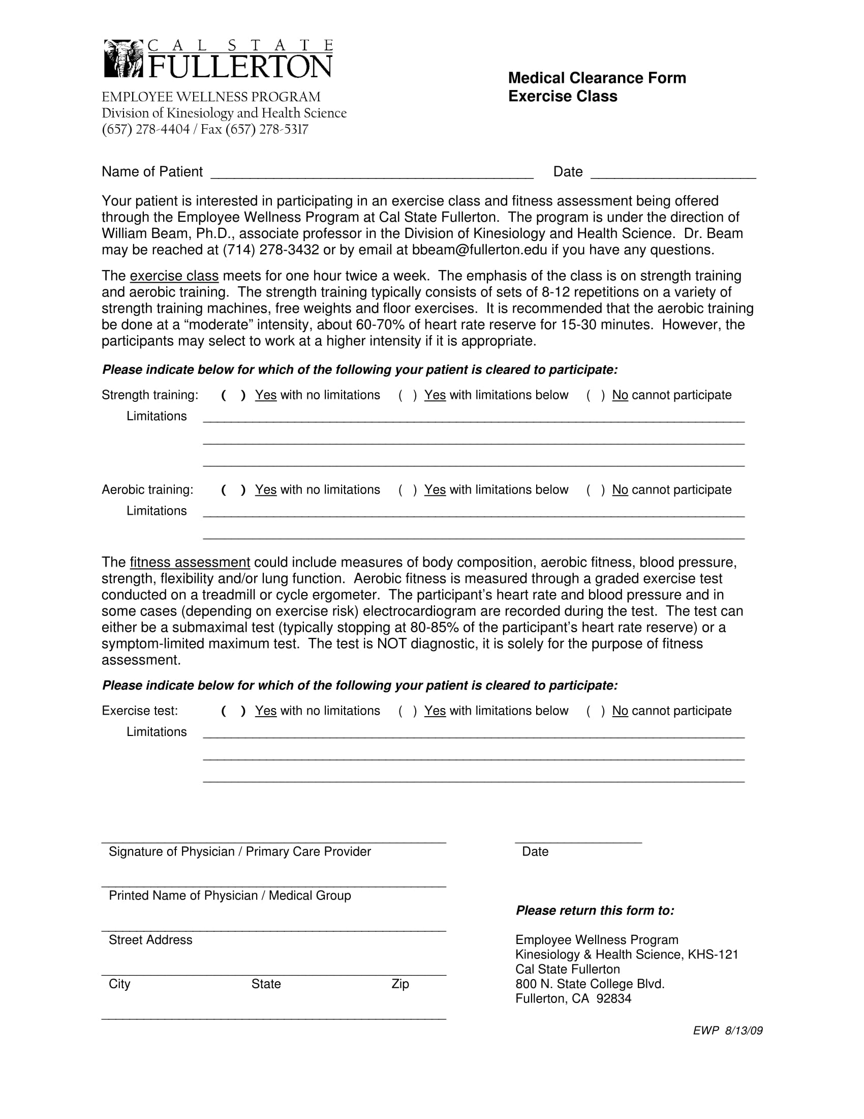 exercise class medical clearance form 1