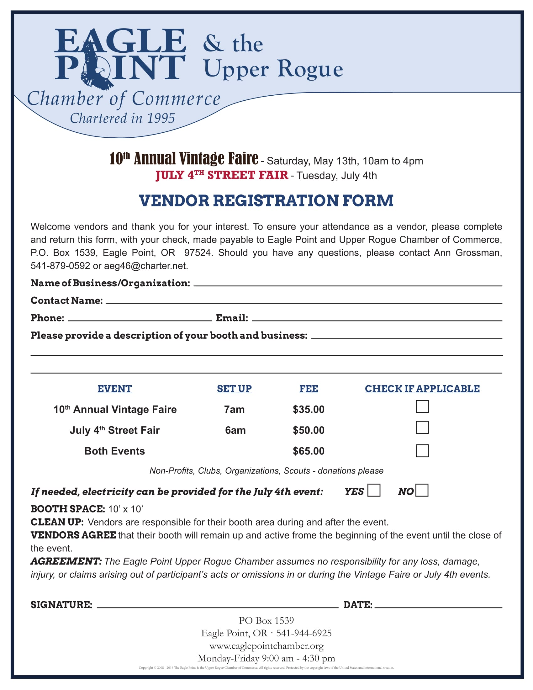 10  event vendor registration form