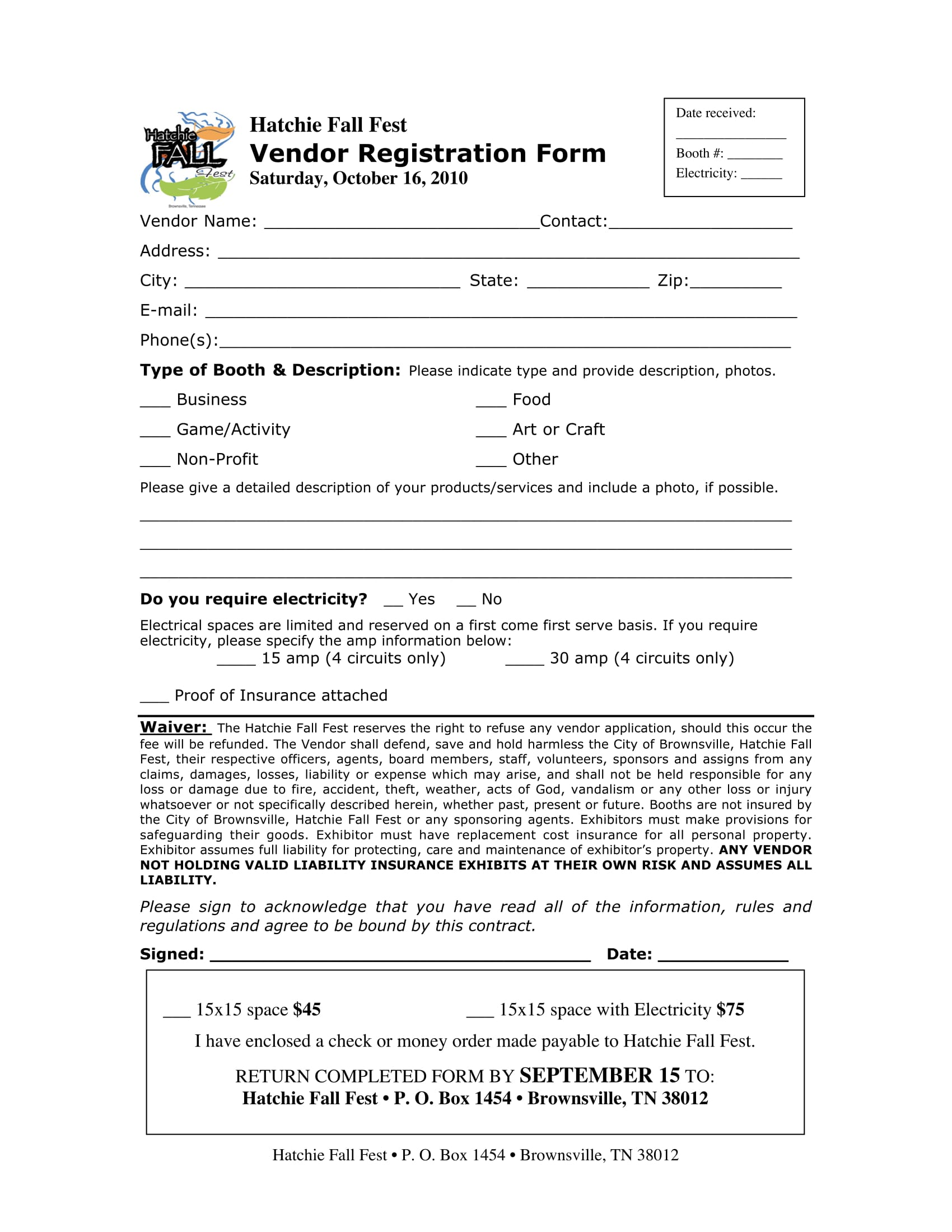 Fall-Fest-Event-Vendor-Registration-Form-2 Vendors Application Forms on founders day festival food, turquoise trail art fest, festival food, music festival, for event template, completed city hialeah,
