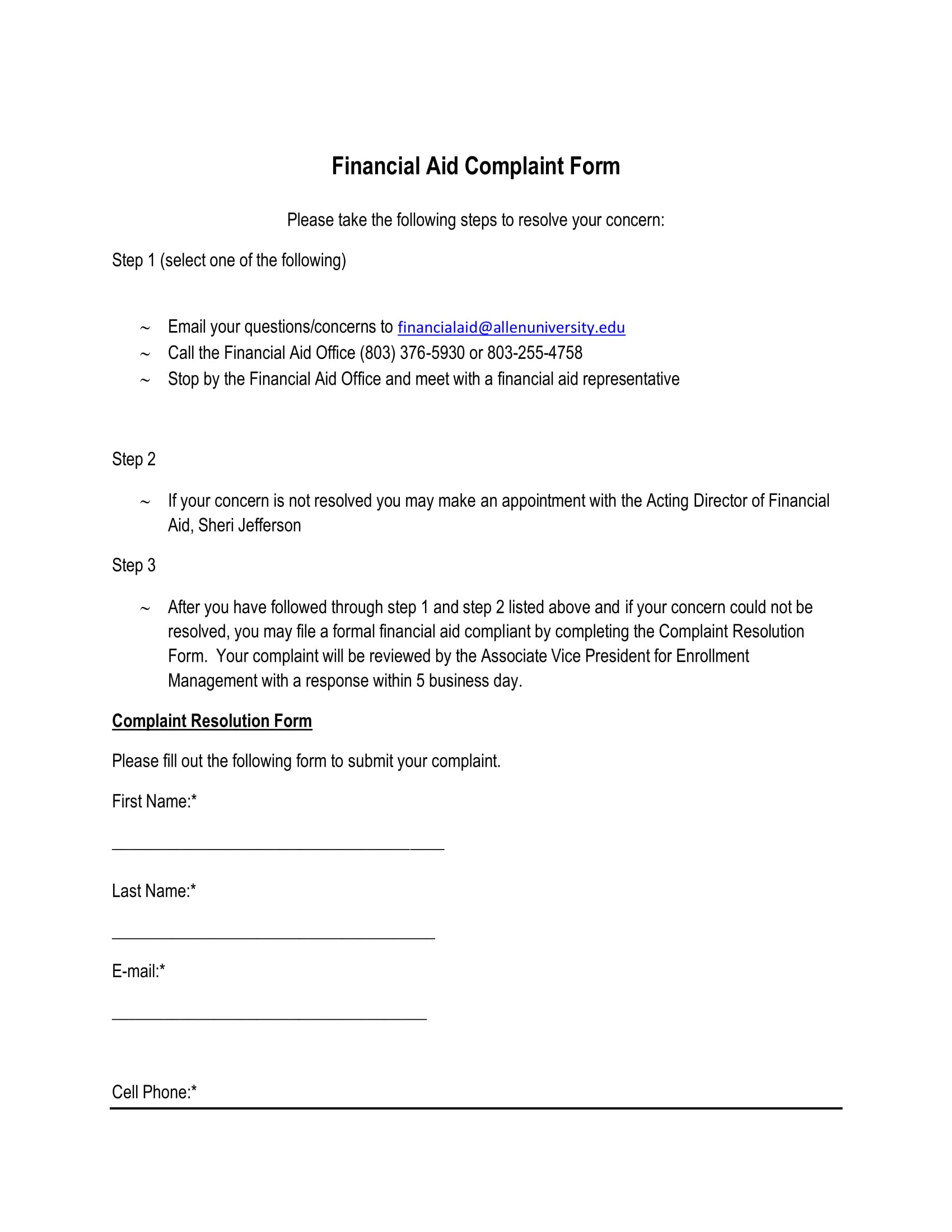 financial aid complaint form 1