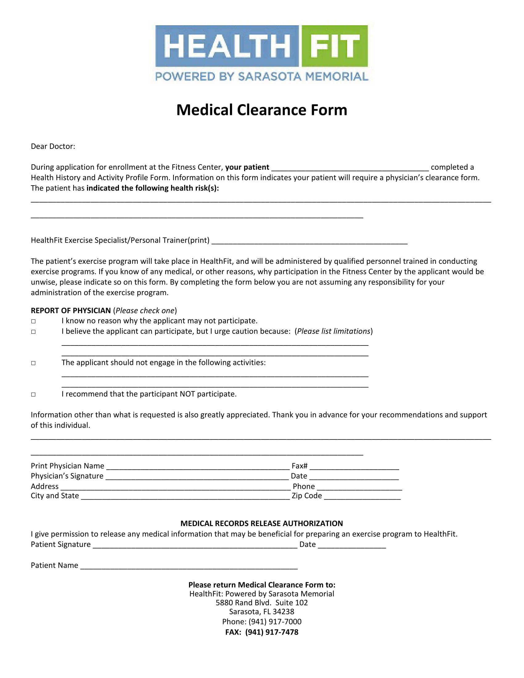 fitness center medical clearance form 1