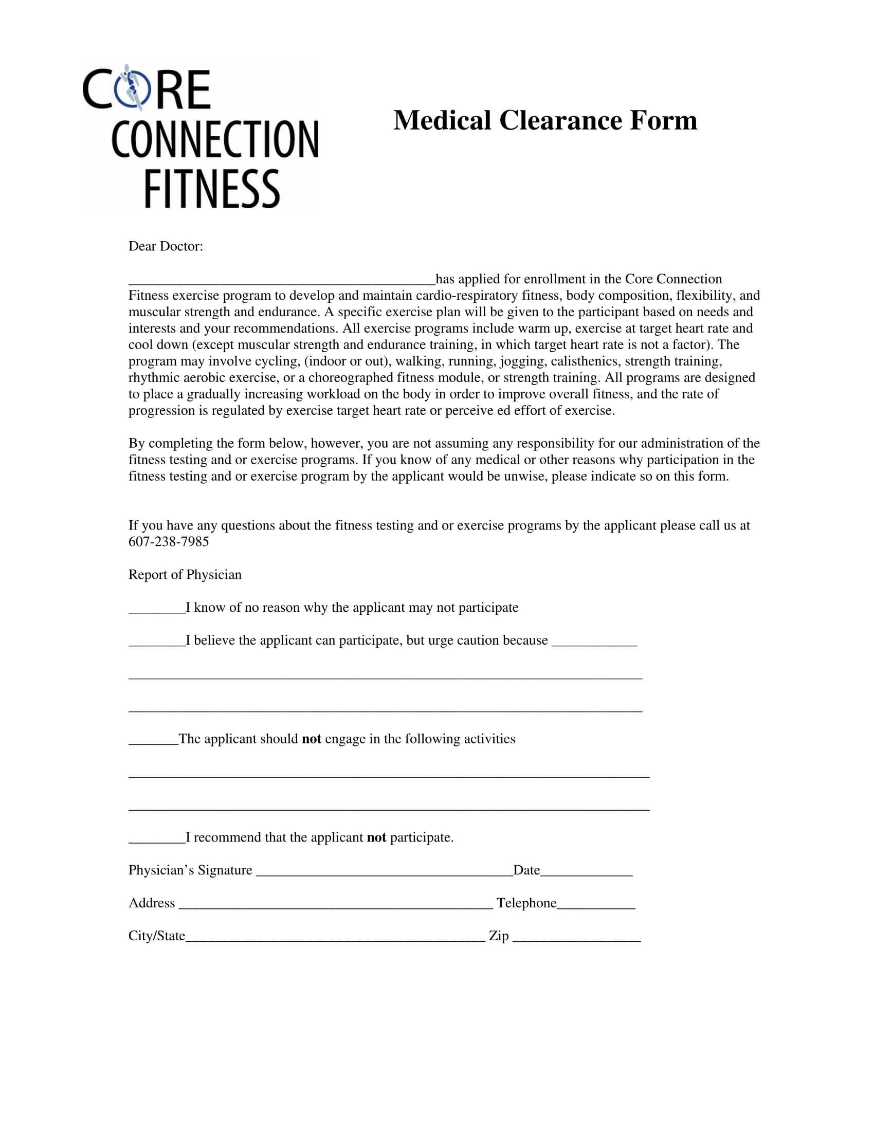 fitness medical clearance form 1
