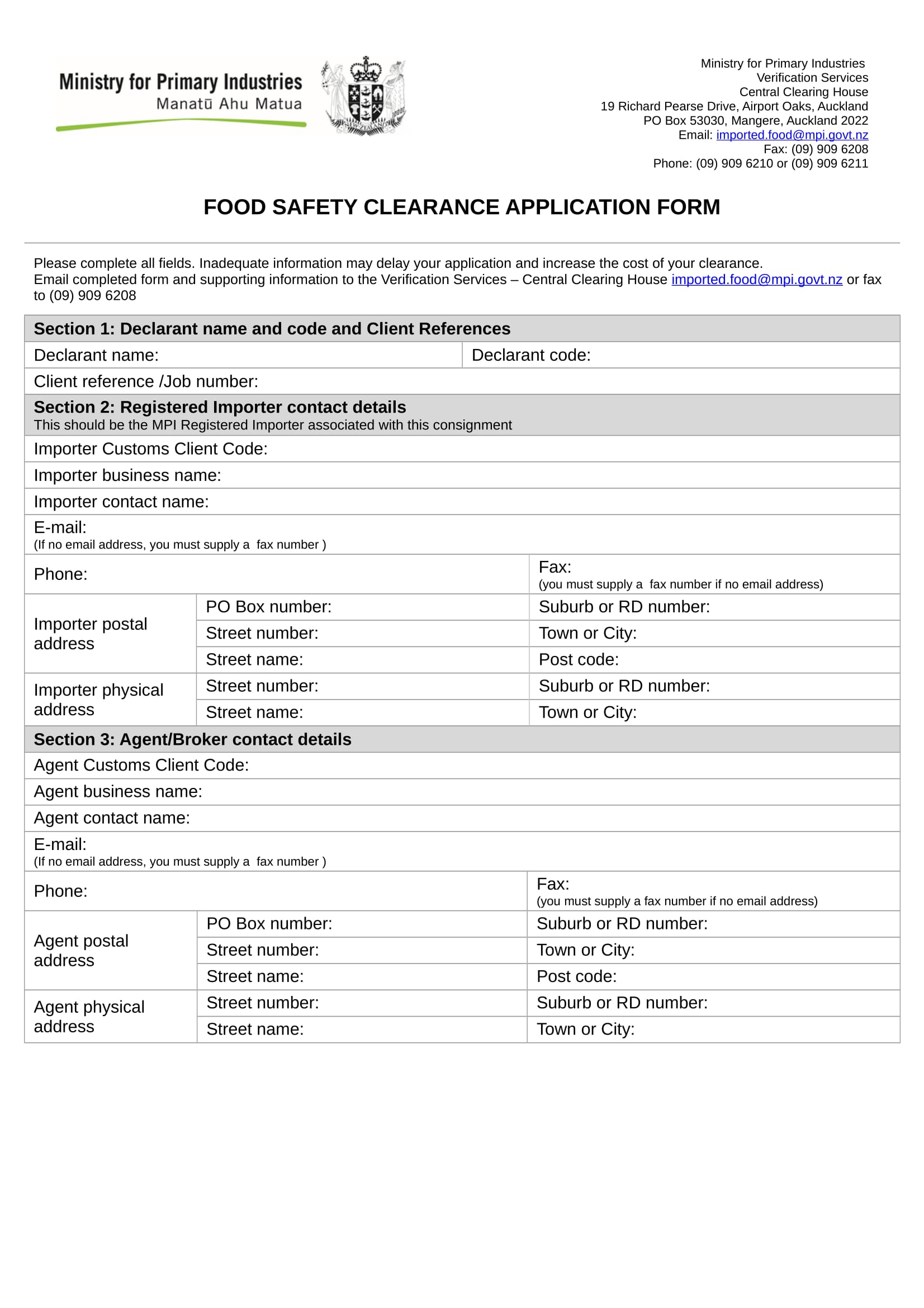 food safety clearance application form 1