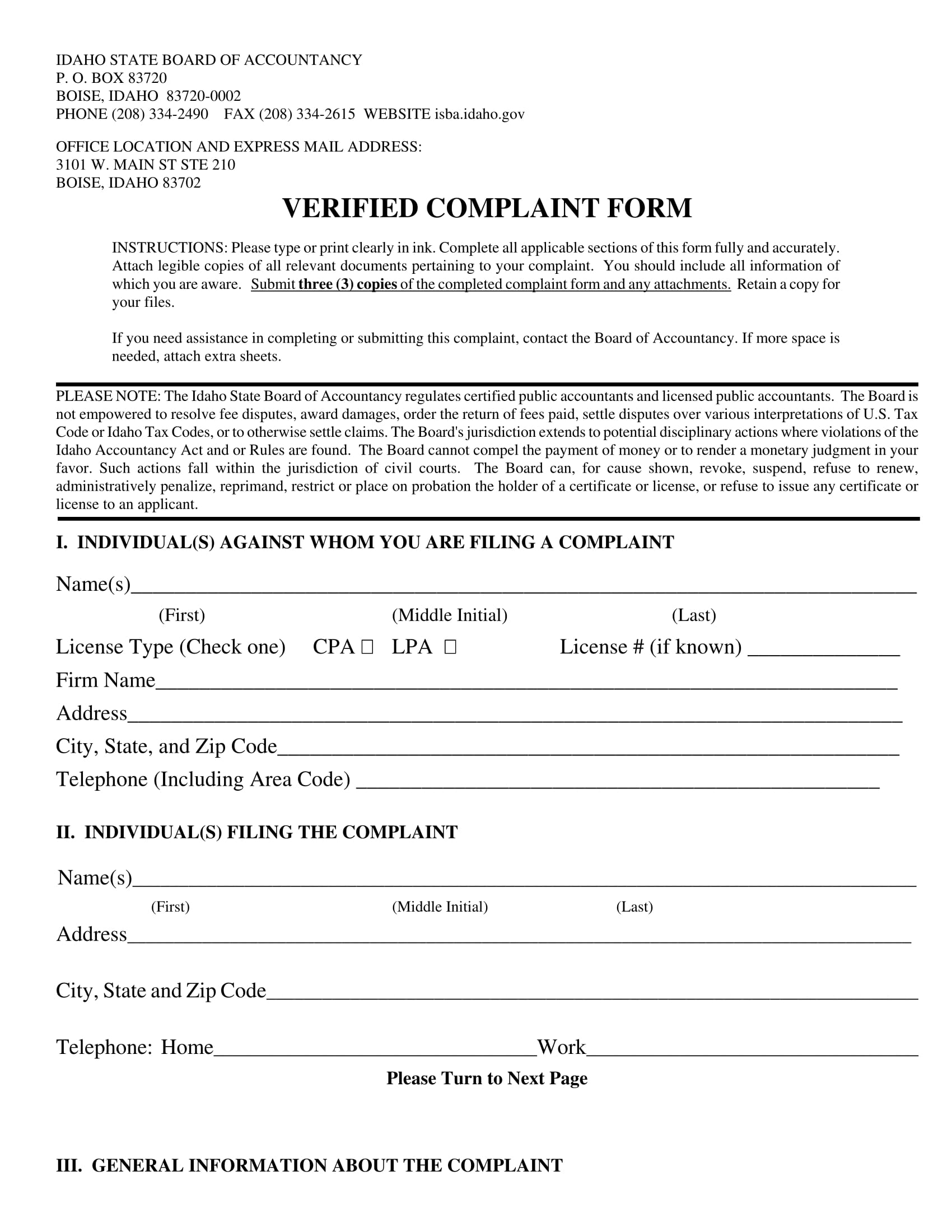 free verified complaint form 1