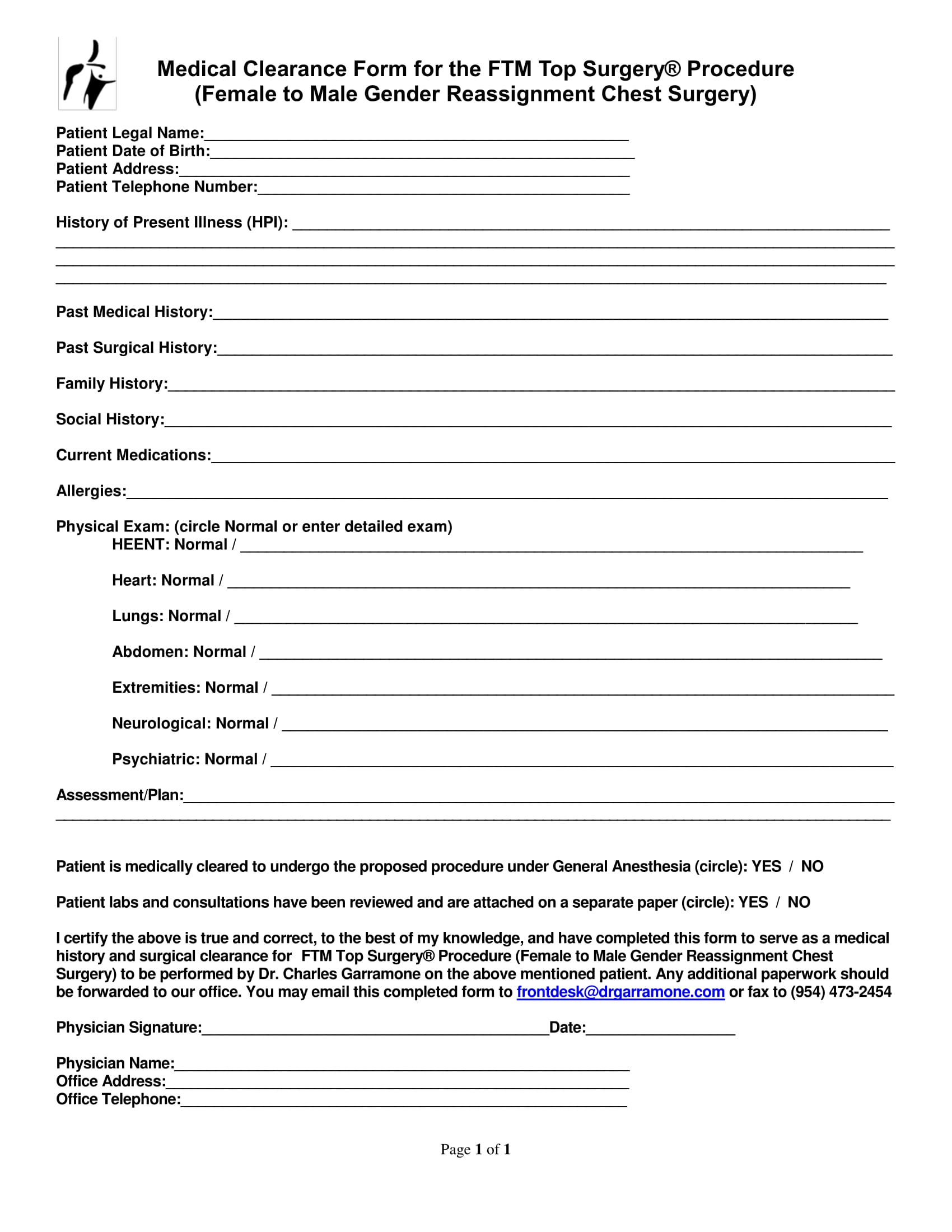 gender reassignment medical clearance form 1