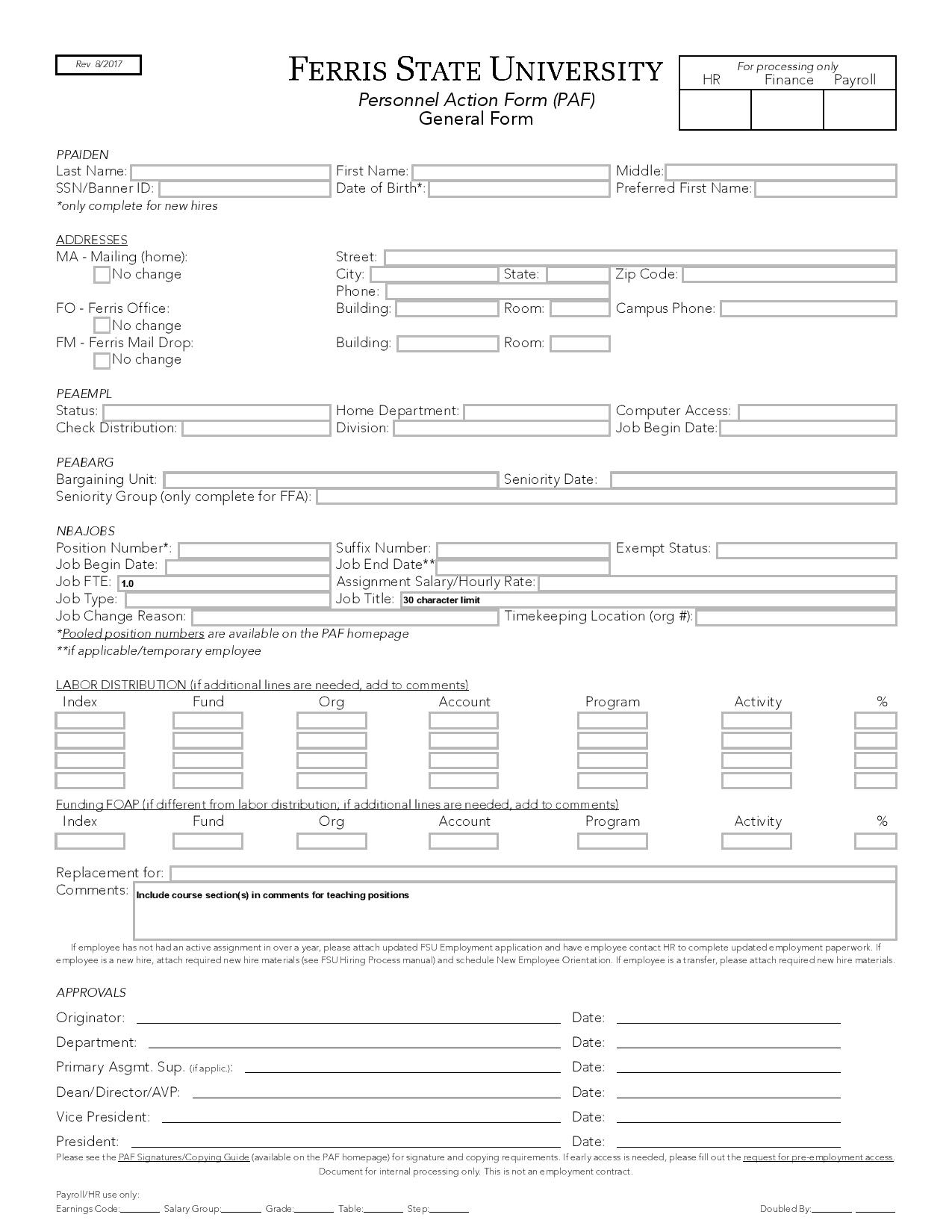 general personnel action form page 0011