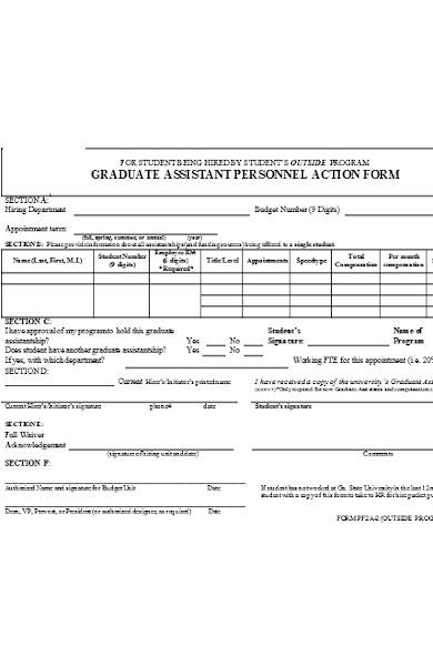 graduate personnel action form