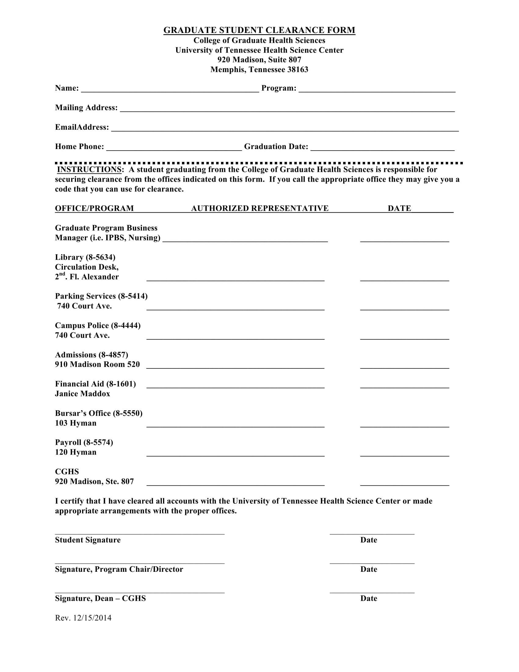 graduate student clearance form 1