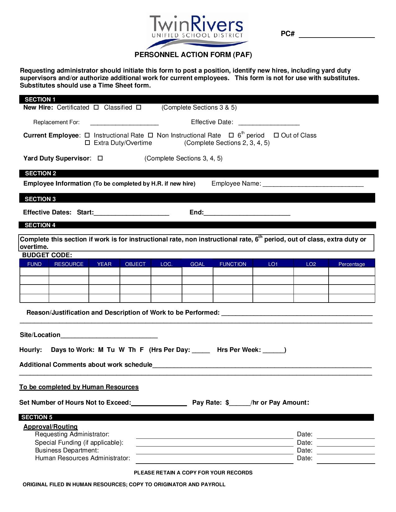 hr personnel action form in pdf page 0012