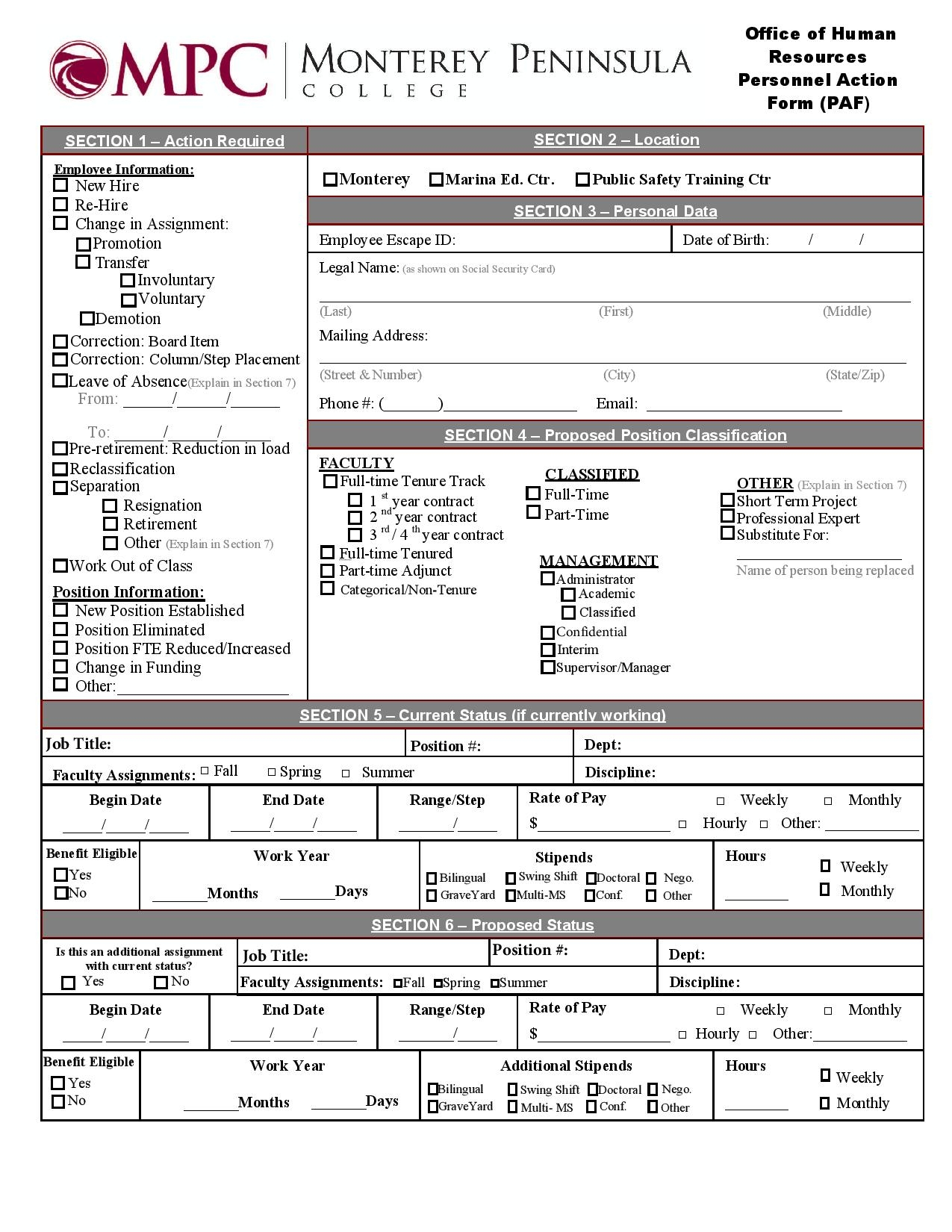 hr personnel action form page 003