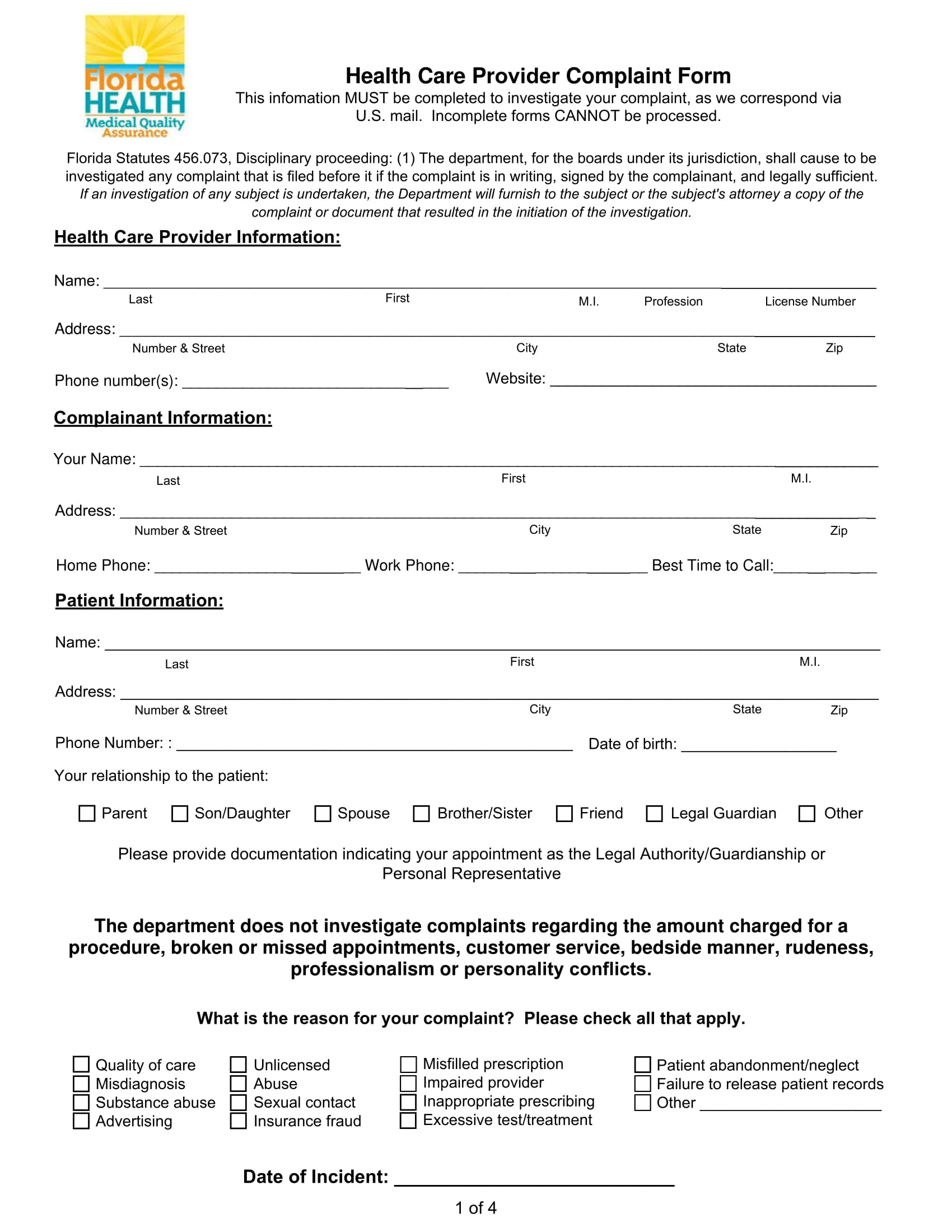 health care provider complaint form 1