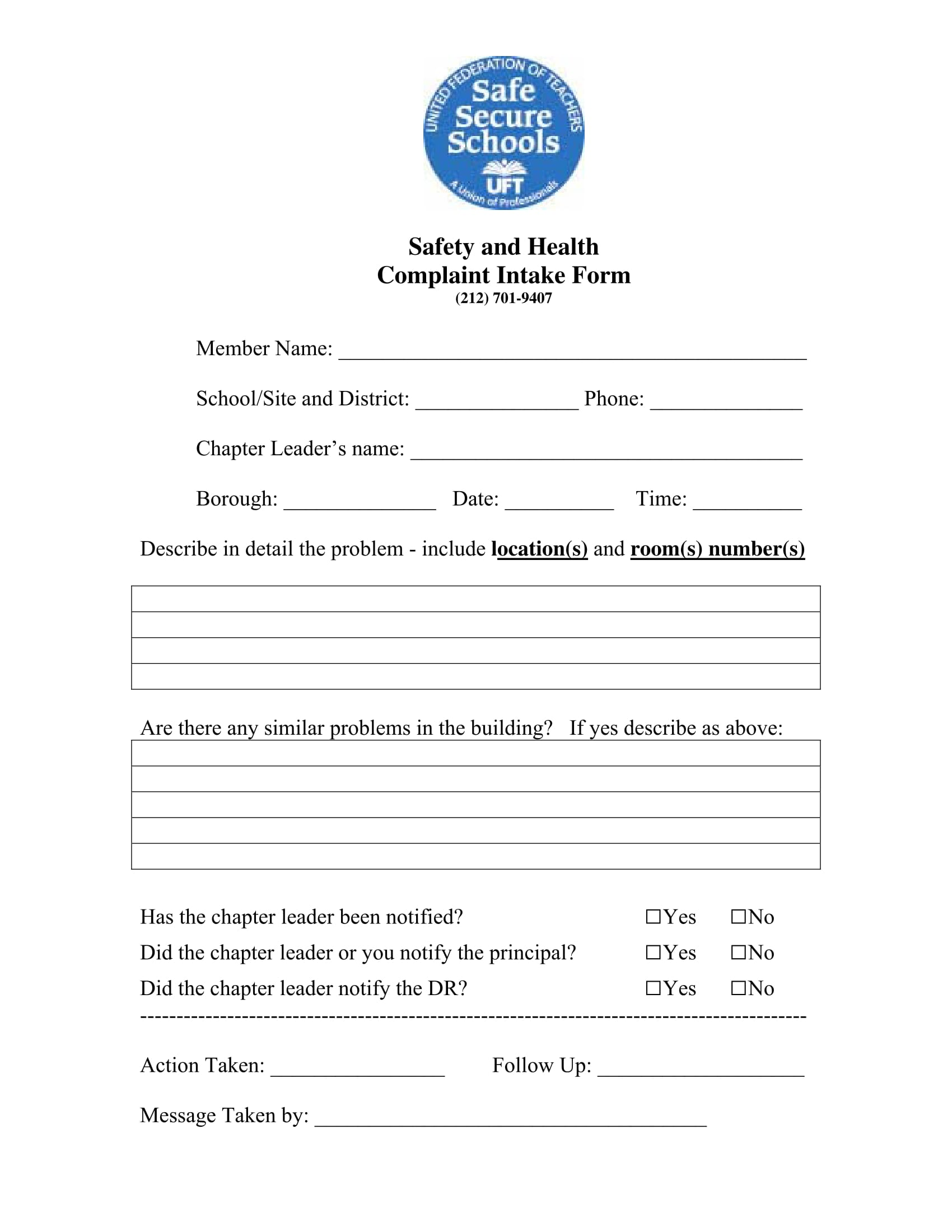 health complaint intake form 1