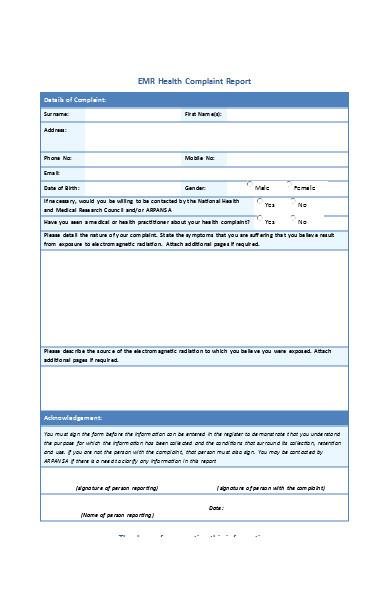 health complaint report form