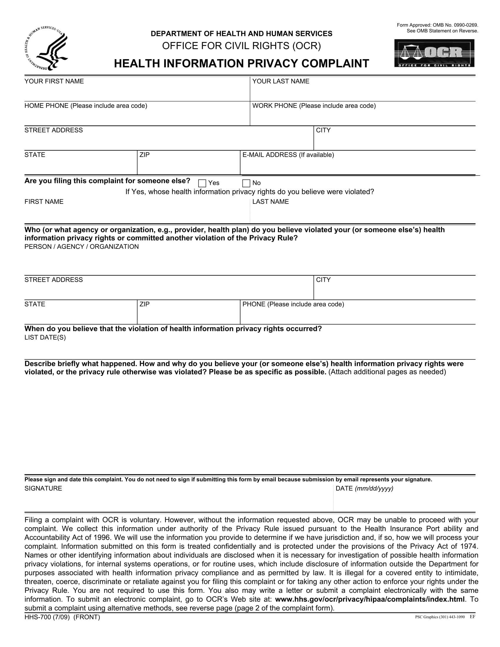 health information privacy complaint form 1